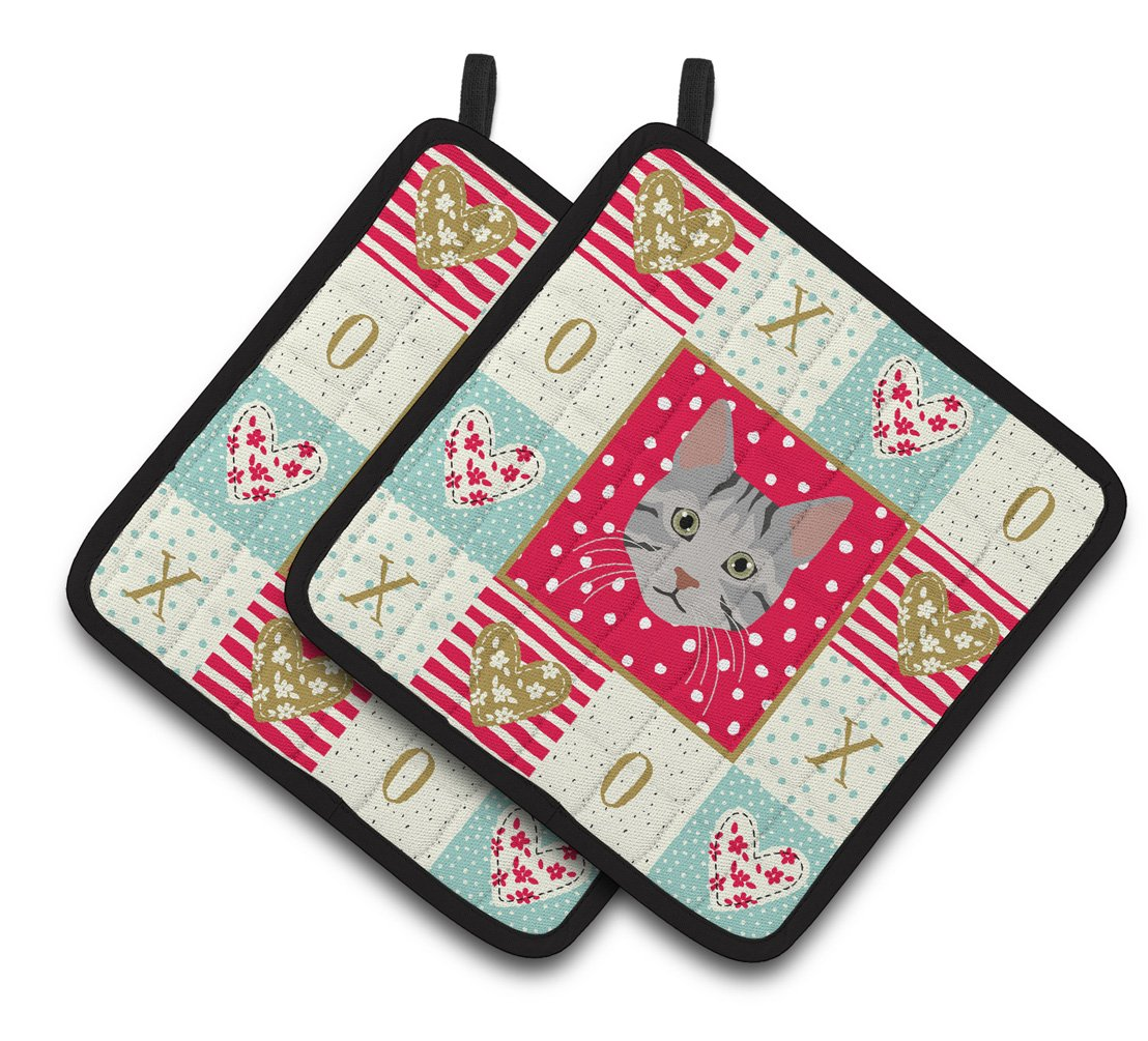 Buy this Egyptian Mau Cat Love Pair of Pot Holders CK5114PTHD