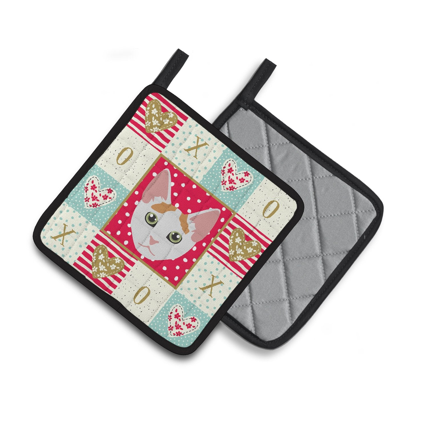 Buy this Japanese Bobtail Cat Love Pair of Pot Holders CK5122PTHD