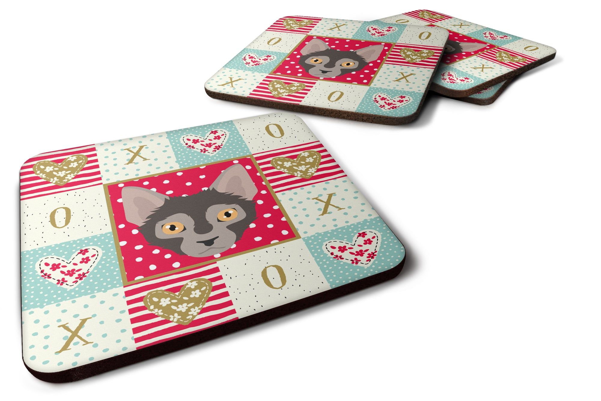 Buy this Set of 4 Lykoi Cat Love Foam Coasters Set of 4 CK5128FC