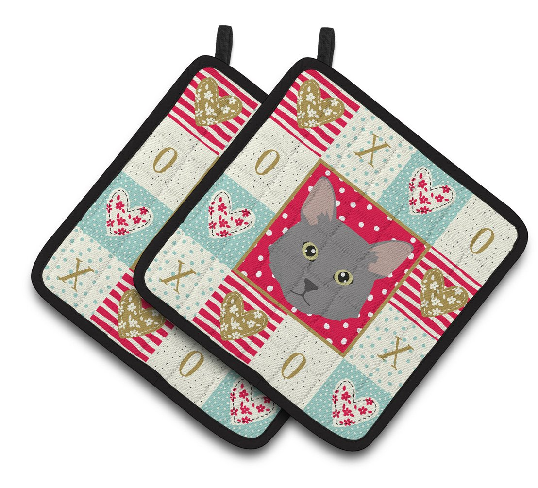 Buy this Nebelung Cat Love Pair of Pot Holders CK5136PTHD
