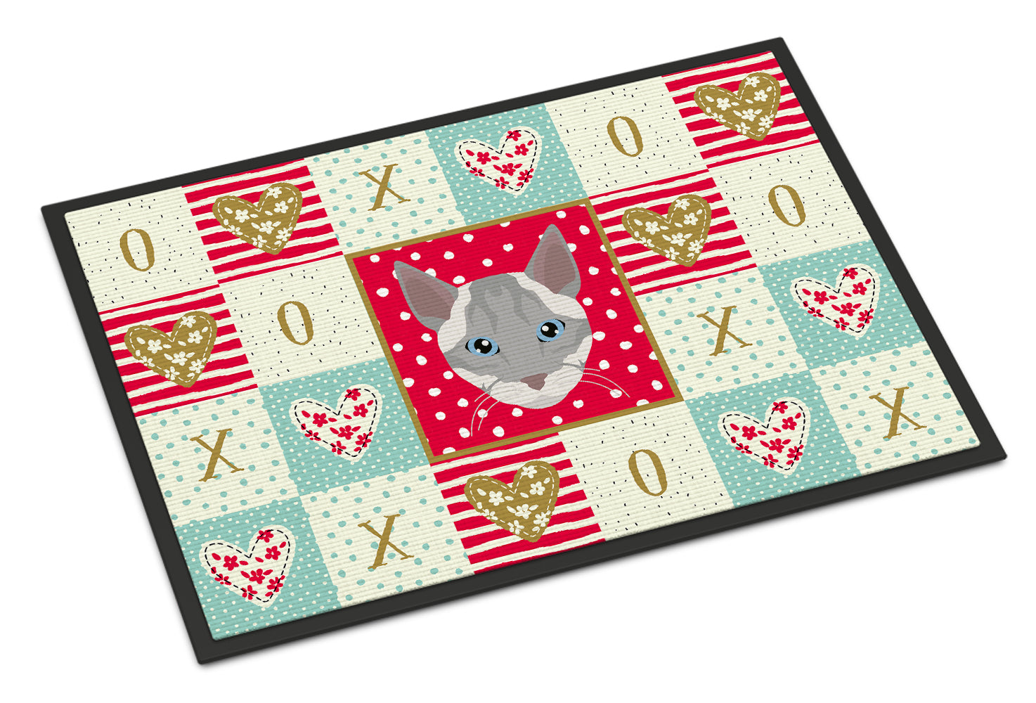 Ojos Azules Cat Love Indoor or Outdoor Mat 18x27 CK5139MAT by Caroline's Treasures