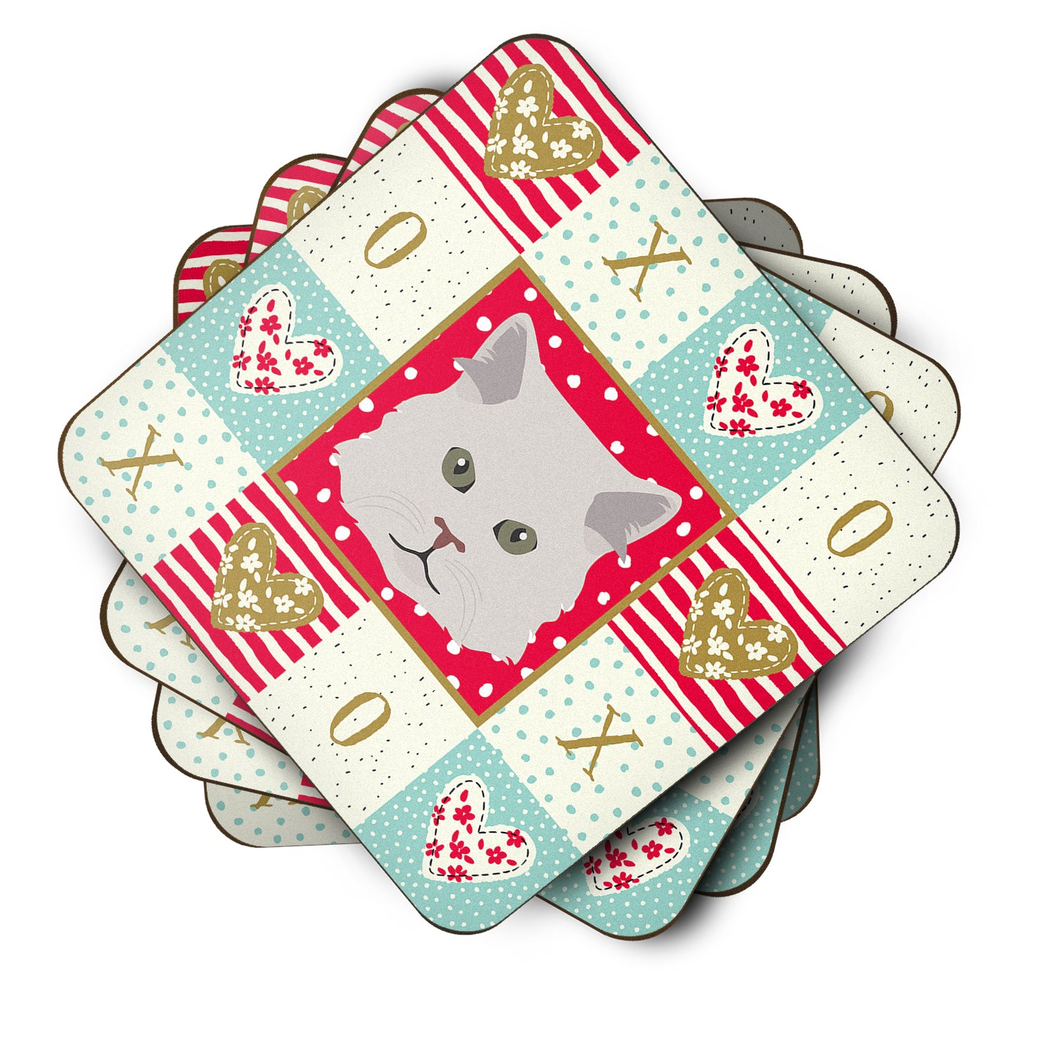 Set of 4 Persian Traditional Cat Love Foam Coasters Set of 4 CK5147FC by Caroline's Treasures
