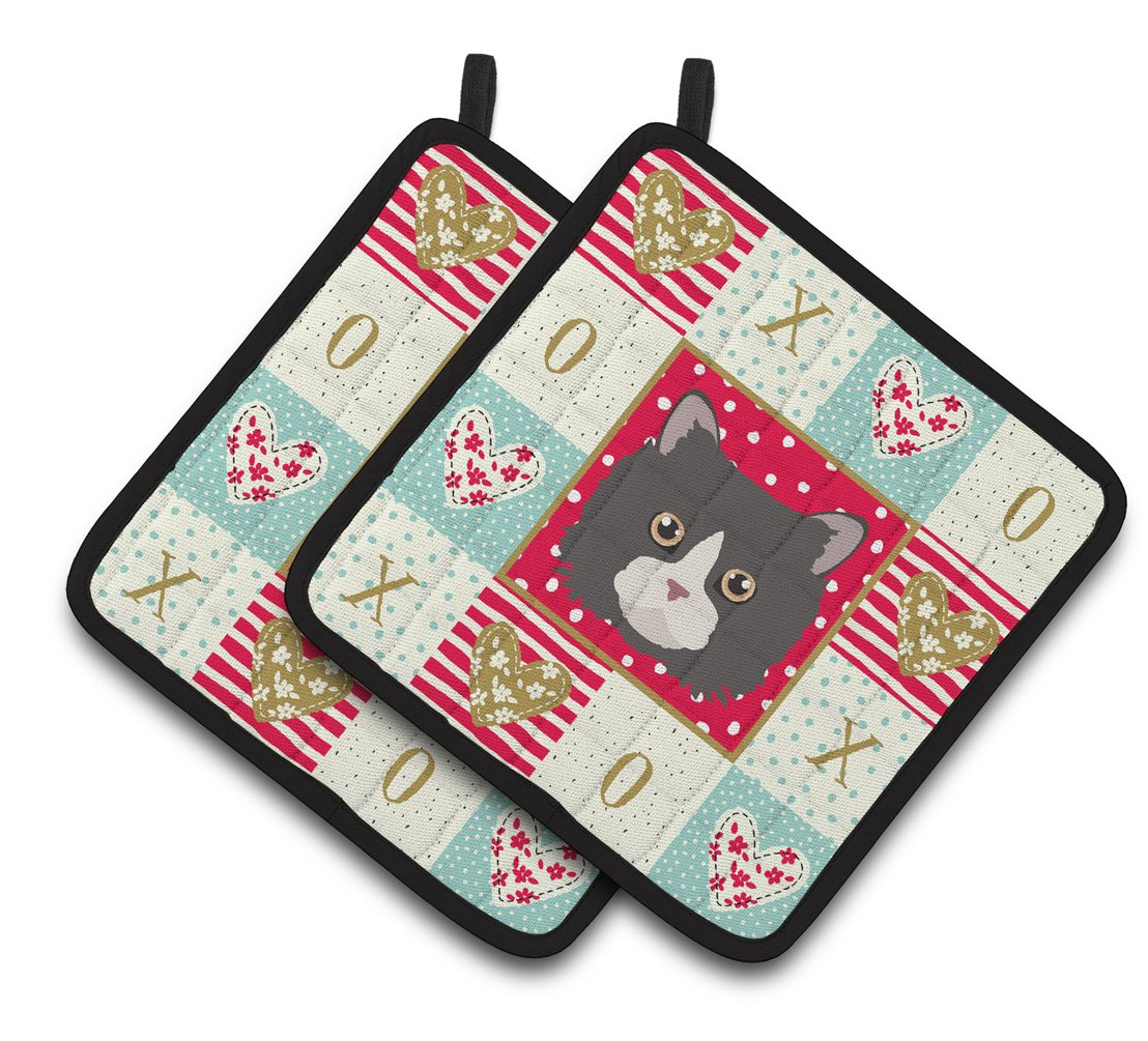 Buy this Poodle Cat Love Pair of Pot Holders CK5150PTHD