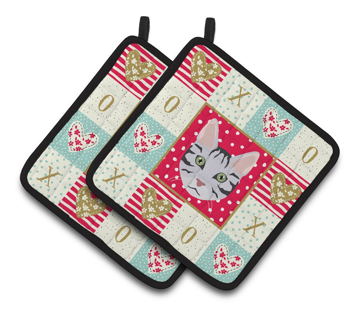 Serengeti Cat Love Pair of Pot Holders CK5161PTHD by Caroline's Treasures