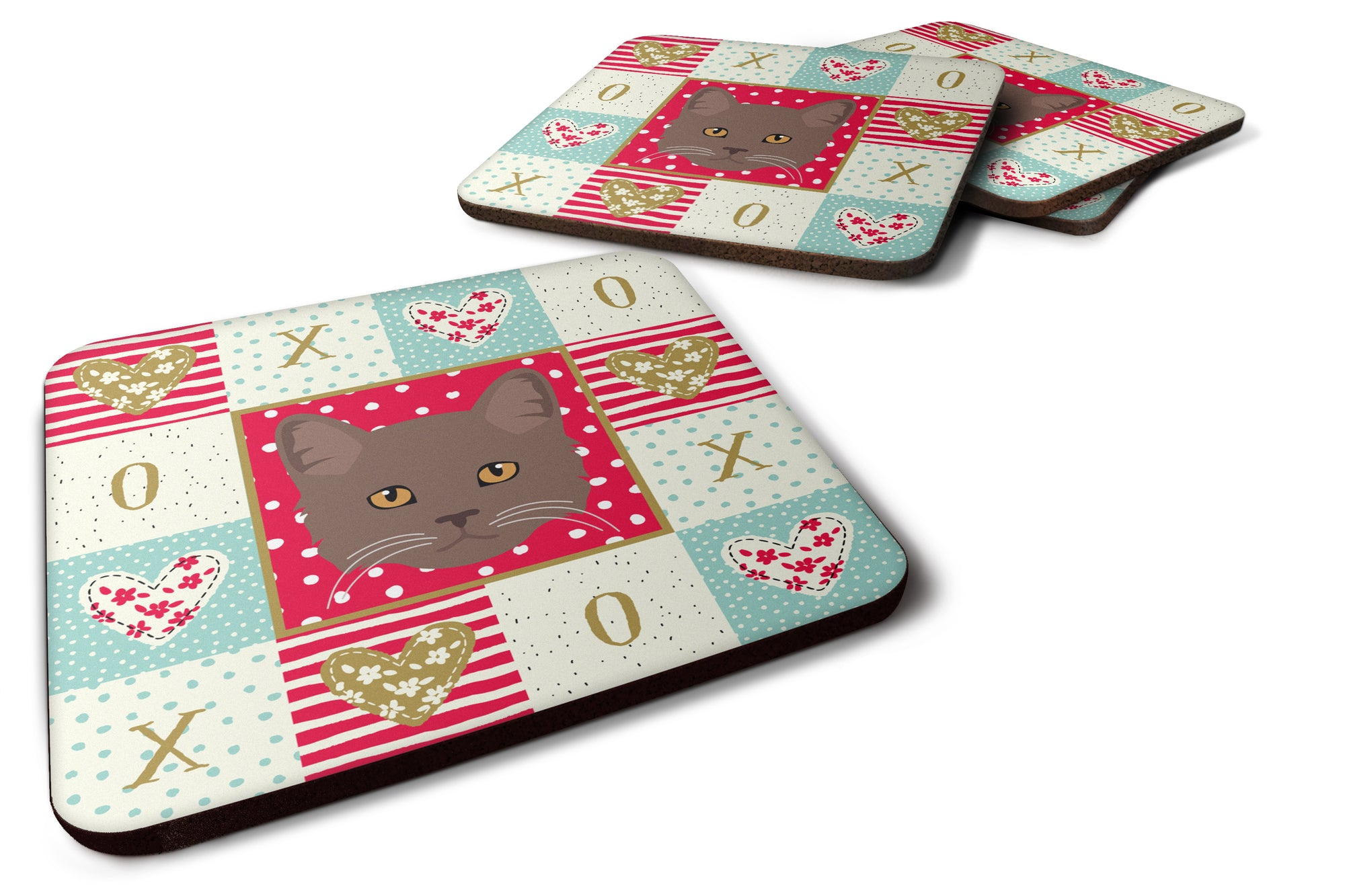 Buy this Set of 4 York Chocolate Cat Love Foam Coasters Set of 4 CK5178FC