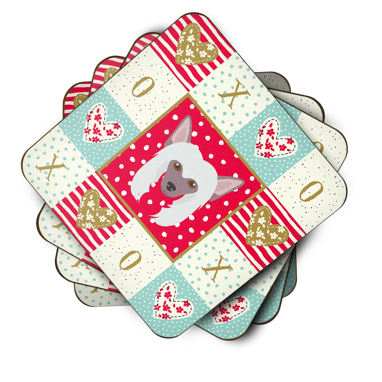 Buy this Set of 4 Chinese Crested Love Foam Coasters Set of 4 CK5191FC