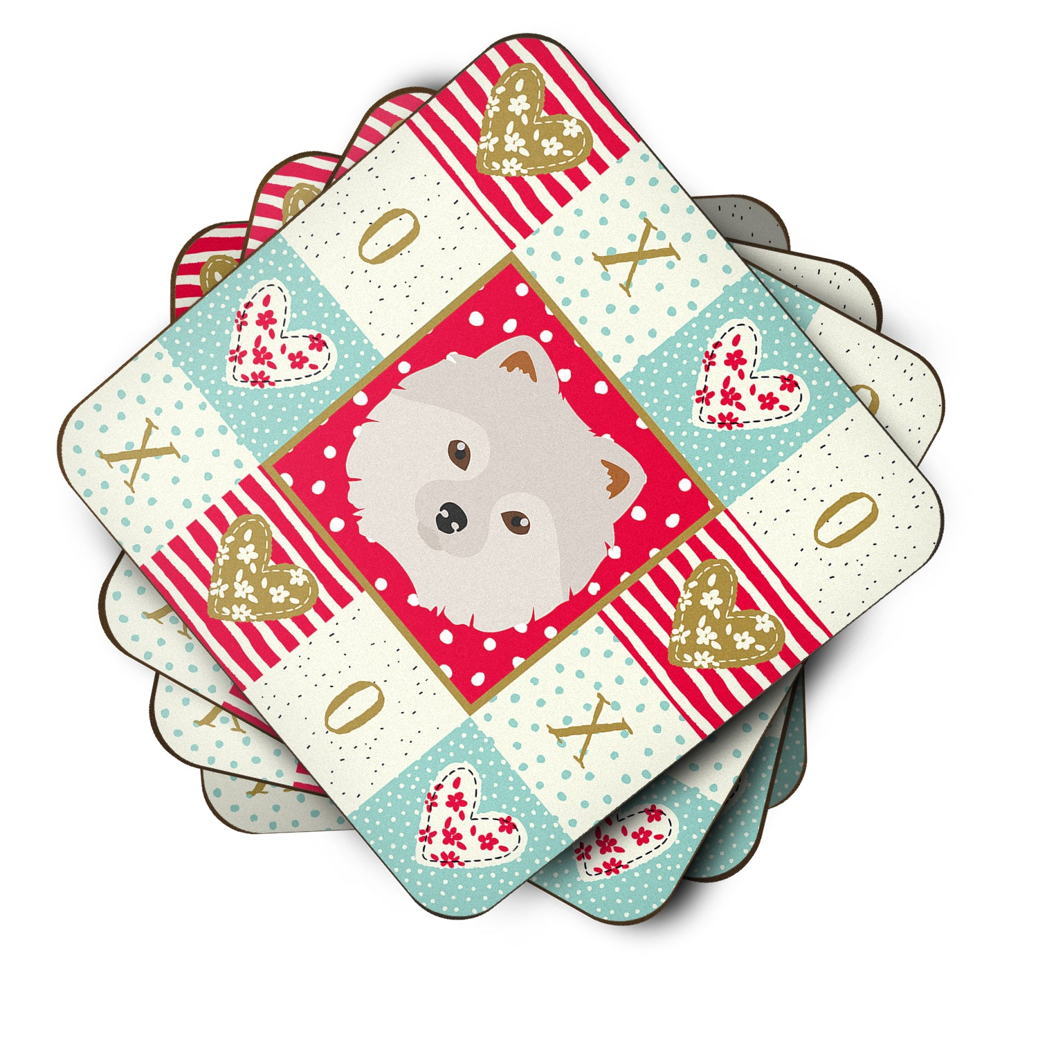 Set of 4 Japanese Spitz Love Foam Coasters Set of 4 CK5210FC by Caroline's Treasures