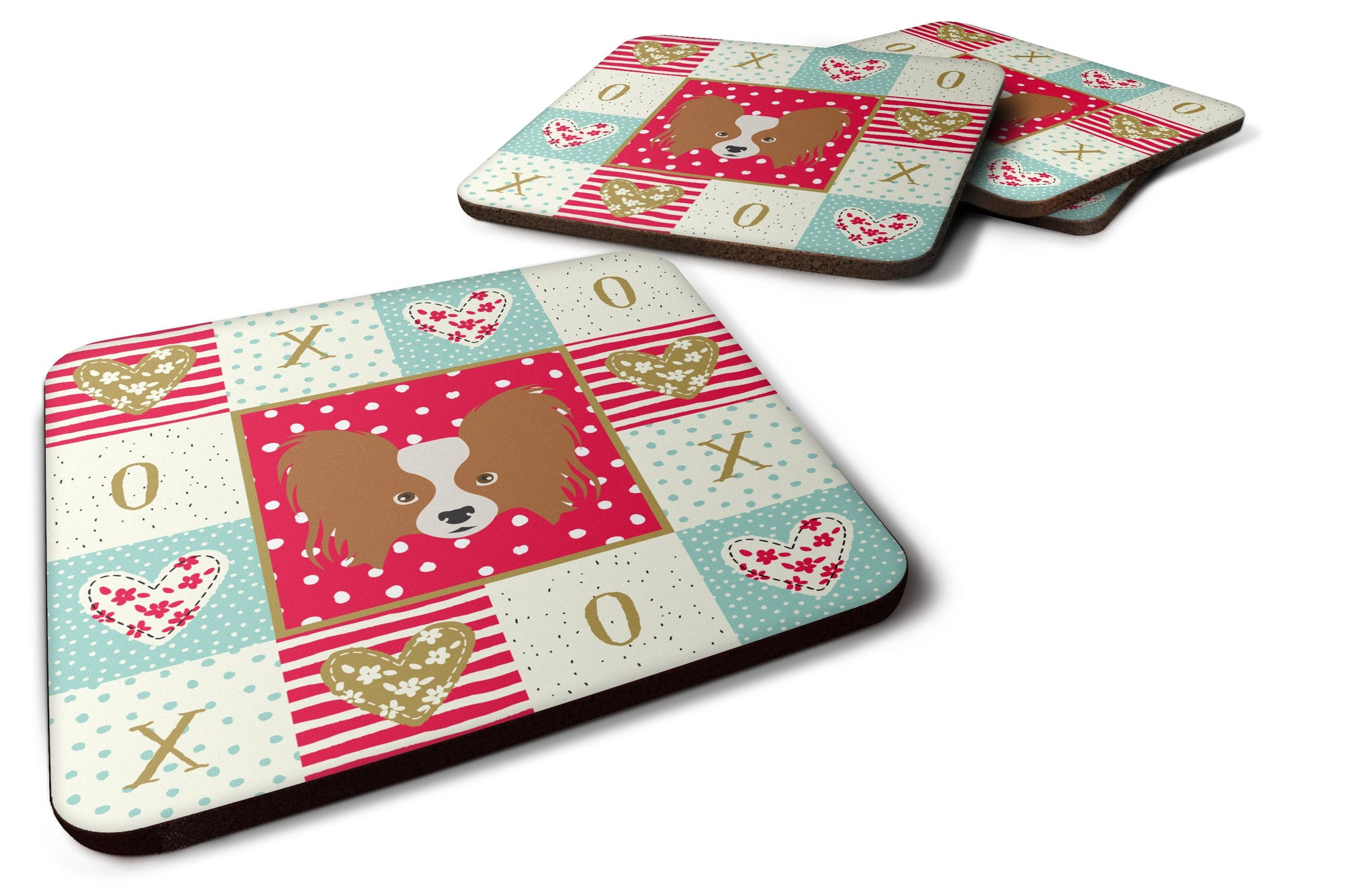 Set of 4 Papillon Love Foam Coasters Set of 4 CK5224FC by Caroline's Treasures
