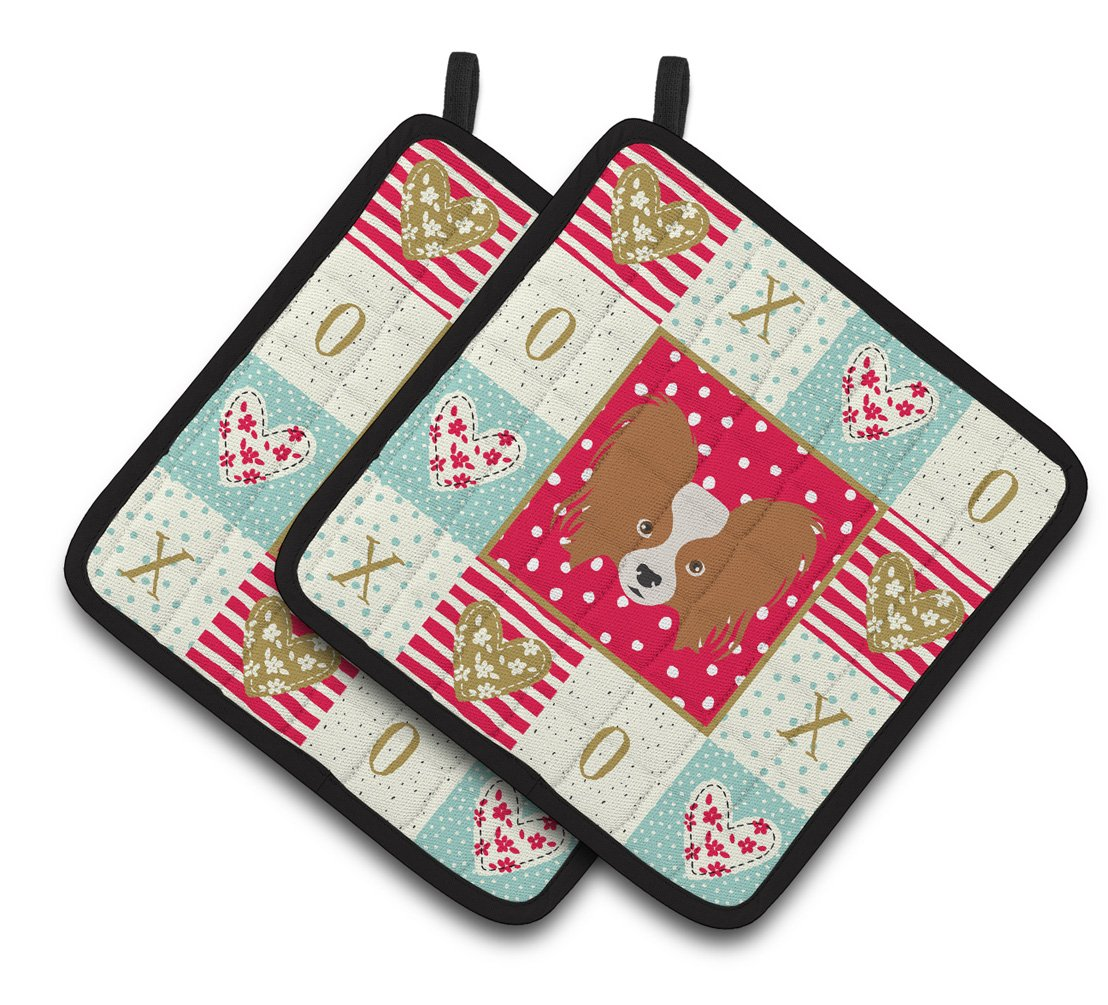 Papillon Love Pair of Pot Holders CK5224PTHD by Caroline's Treasures