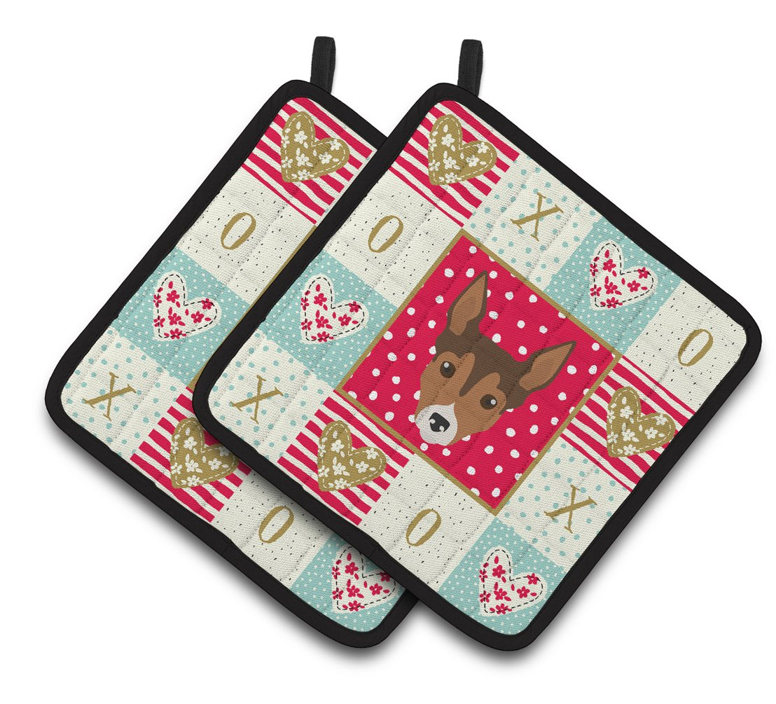 Tenterfield Terrier Love Pair of Pot Holders CK5239PTHD by Caroline's Treasures