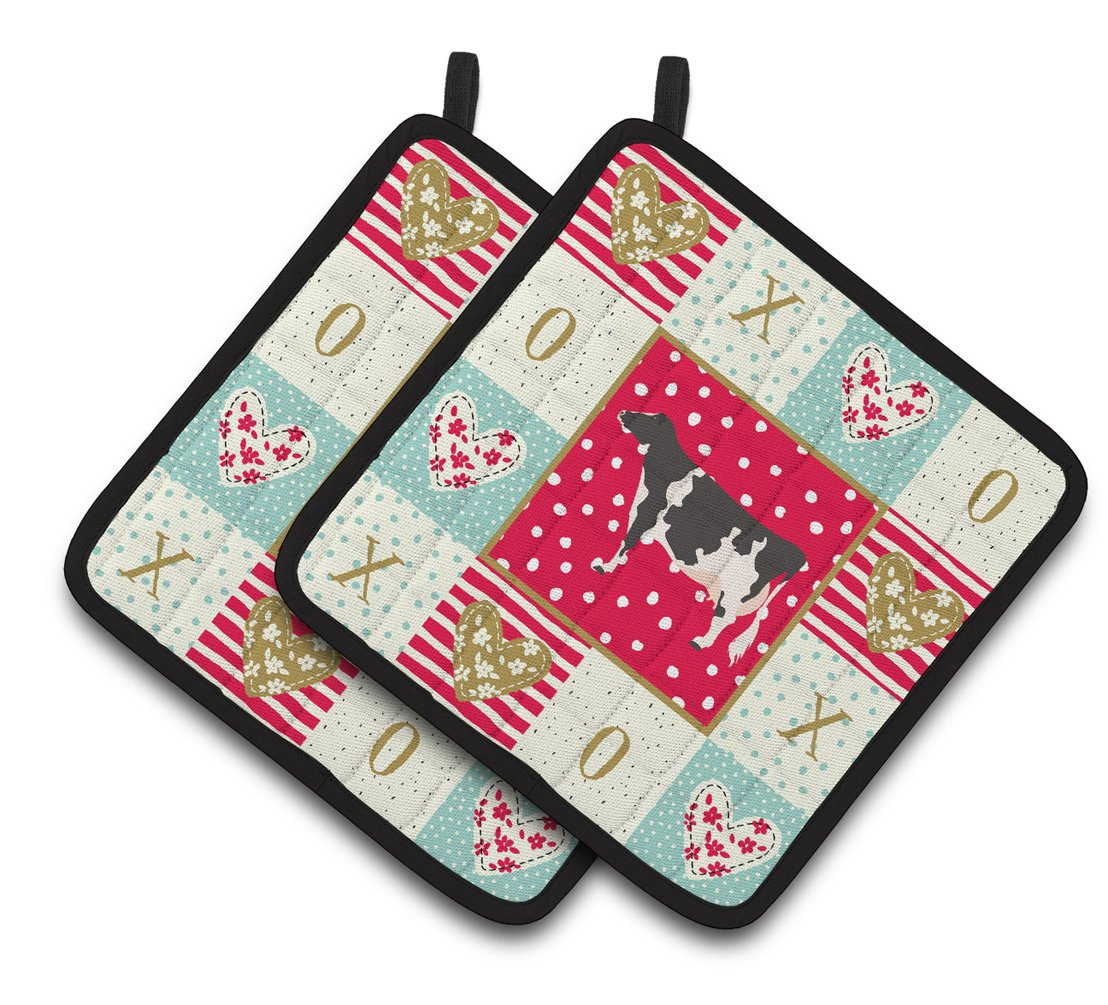 Holstein Cow Love Pair of Pot Holders CK5249PTHD by Caroline's Treasures