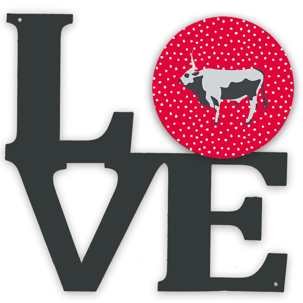 Hungarian Grey Steppe Cow Love Metal Wall Artwork LOVE CK5251WALV by Caroline's Treasures