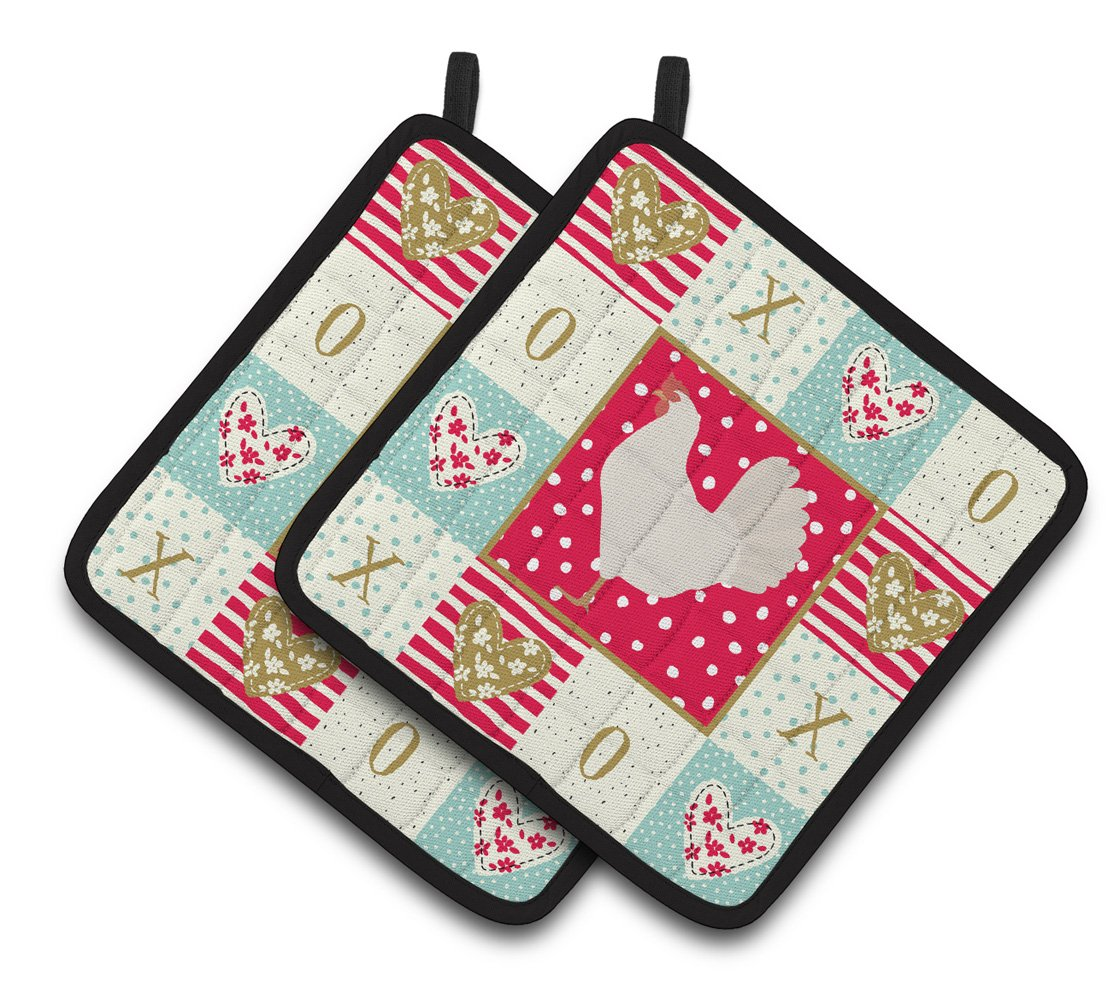 Buy this Leghorn Chicken Love Pair of Pot Holders CK5267PTHD