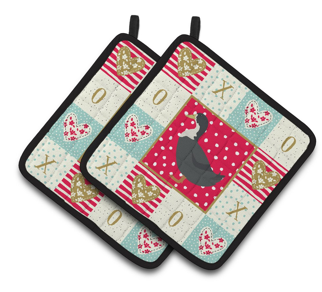 Blue Swedish Duck Love Pair of Pot Holders CK5289PTHD by Caroline's Treasures