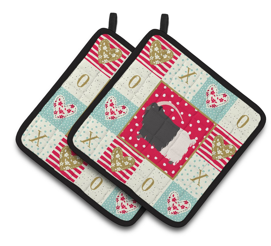 Welsh Black-Necked Goat Love Pair of Pot Holders CK5314PTHD by Caroline's Treasures