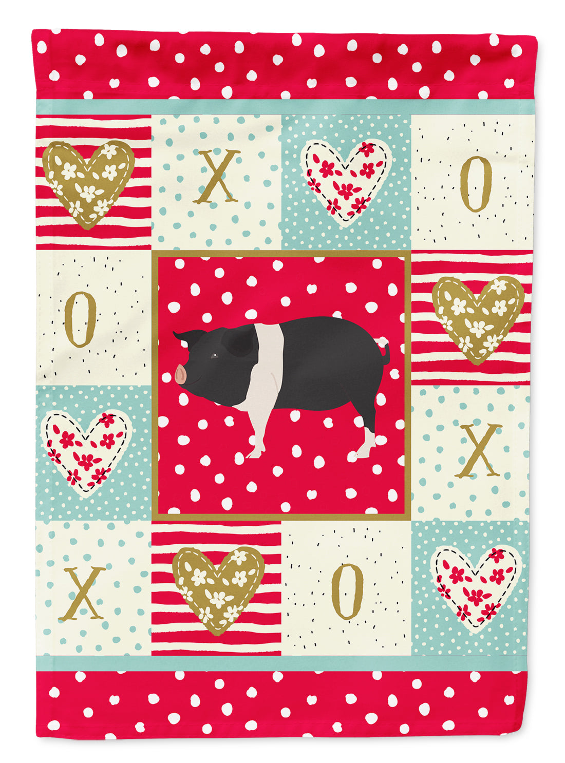 Hampshire Pig Love Flag Canvas House Size CK5366CHF by Caroline's Treasures