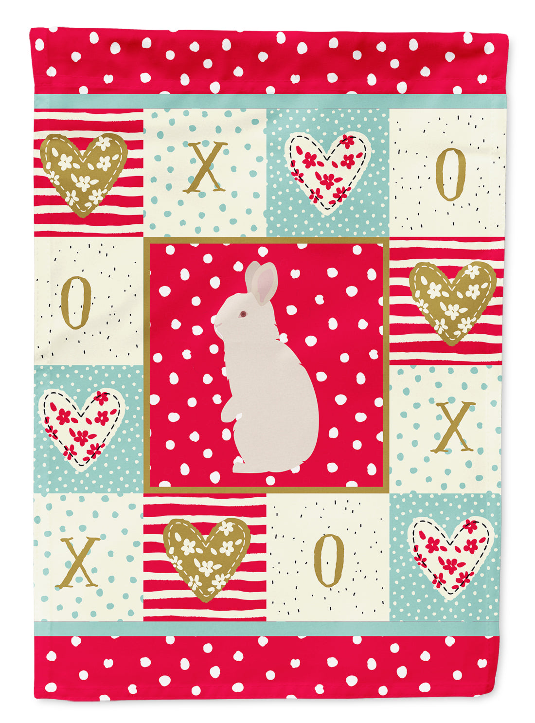 New Zealand White Rabbit Love Flag Canvas House Size CK5392CHF by Caroline's Treasures