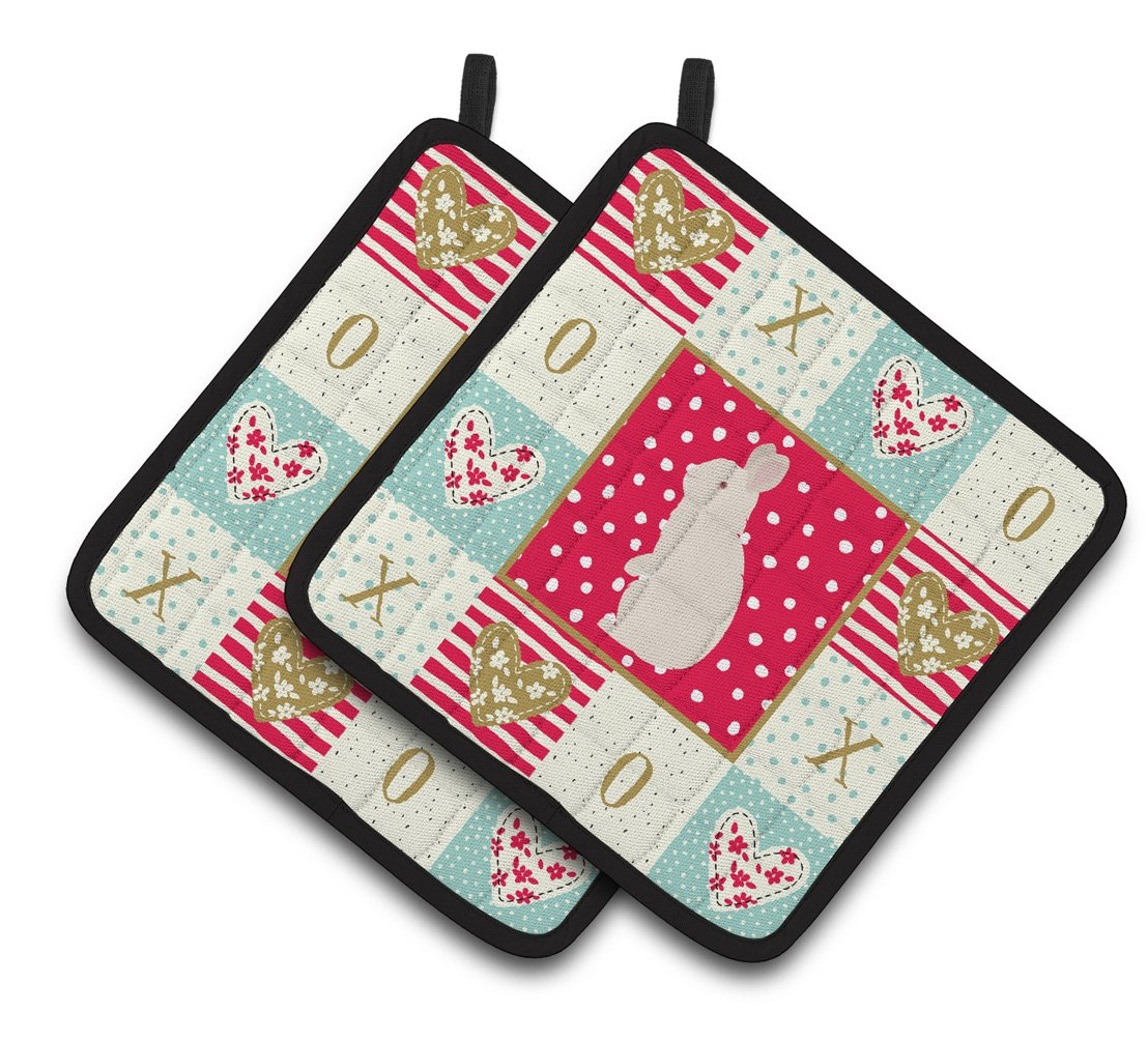 Buy this New Zealand White Rabbit Love Pair of Pot Holders CK5392PTHD