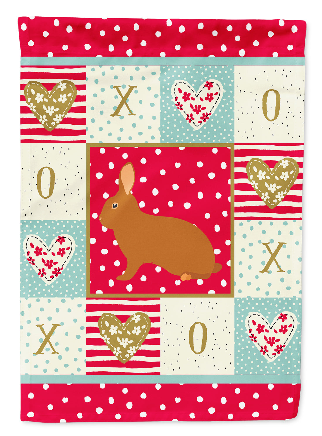 Rex Rabbit Love Flag Canvas House Size CK5396CHF by Caroline's Treasures