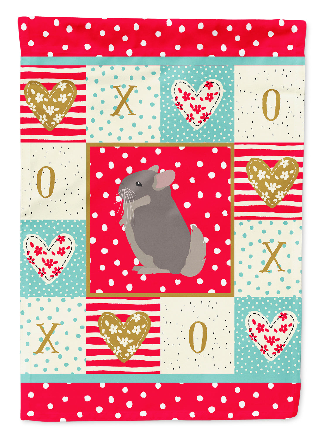 Beige Wellman Chinchilla Love Flag Canvas House Size CK5419CHF by Caroline's Treasures