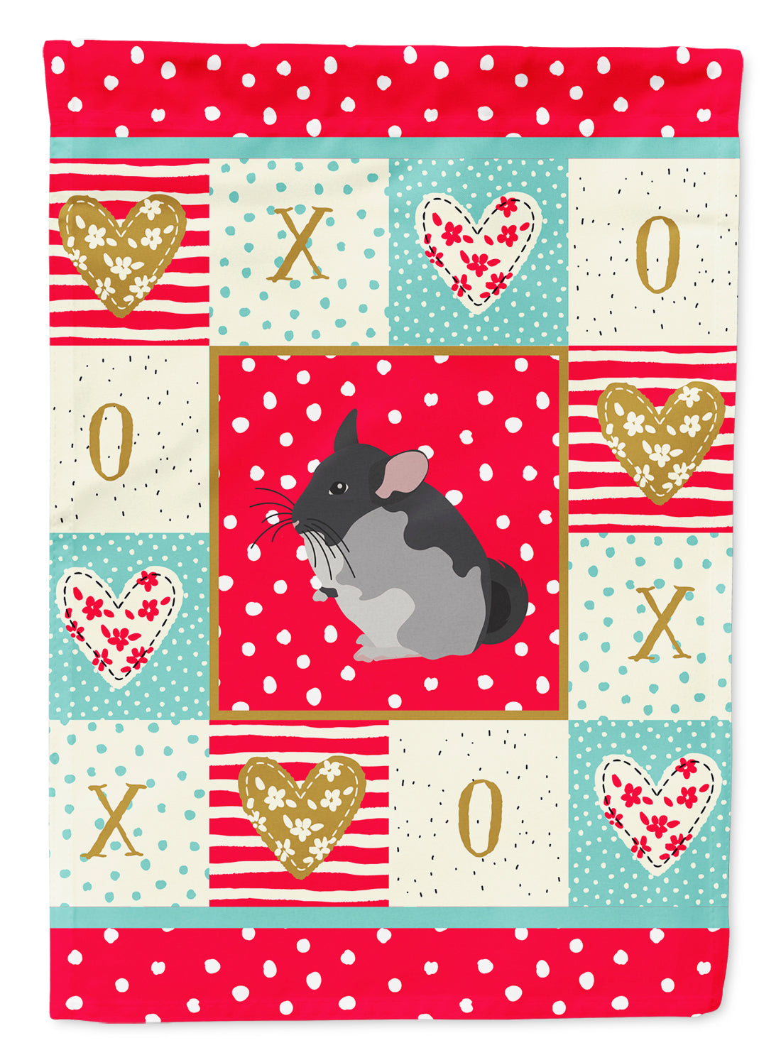 Black Velvet Chinchilla Love Flag Canvas House Size CK5420CHF by Caroline's Treasures