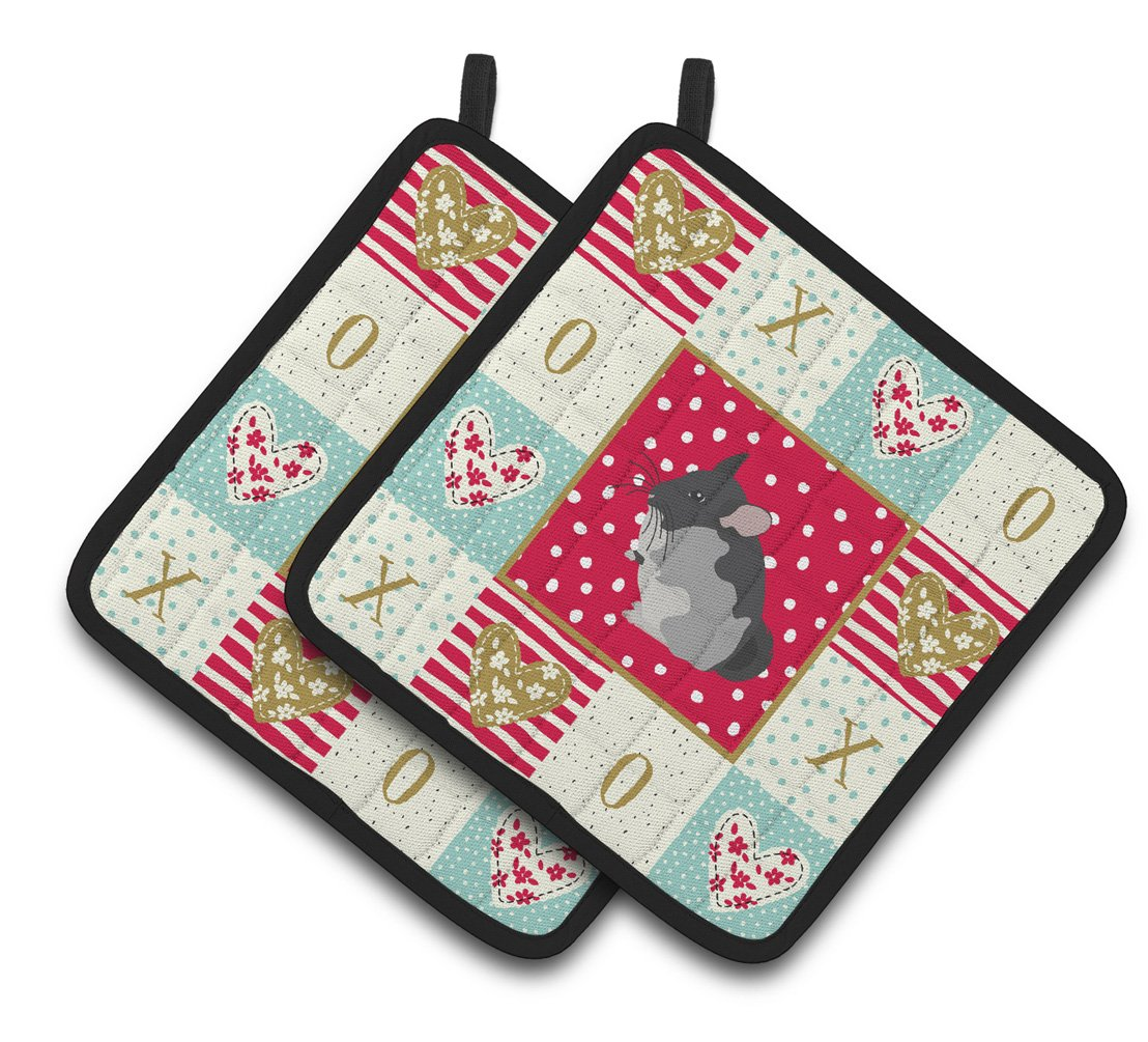 Buy this Black Velvet Chinchilla Love Pair of Pot Holders CK5420PTHD