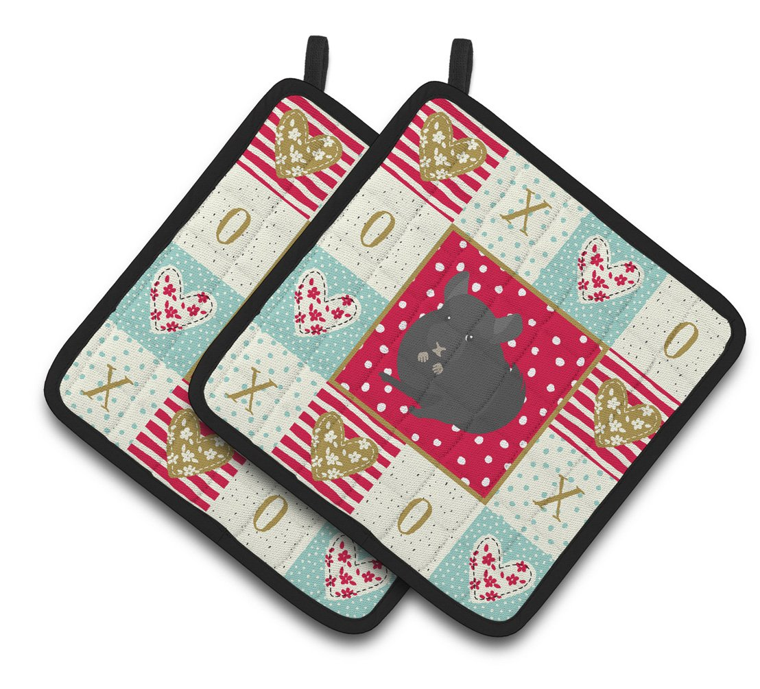 Buy this Charcoal Chinchilla Love Pair of Pot Holders CK5421PTHD