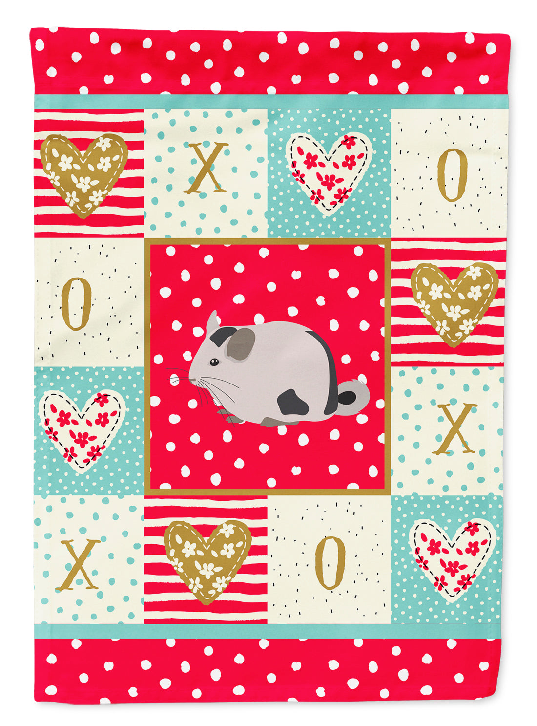 Mosaic Chinchilla Love Flag Canvas House Size CK5423CHF by Caroline's Treasures