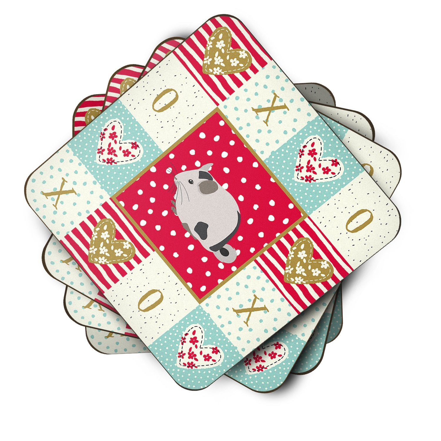 Set of 4 Mosaic Chinchilla Love Foam Coasters Set of 4 CK5423FC by Caroline's Treasures