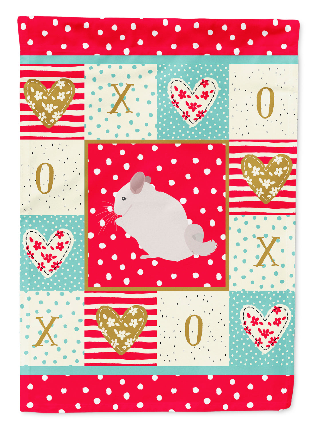 Pink and White Chinchilla Love Flag Canvas House Size CK5424CHF by Caroline's Treasures