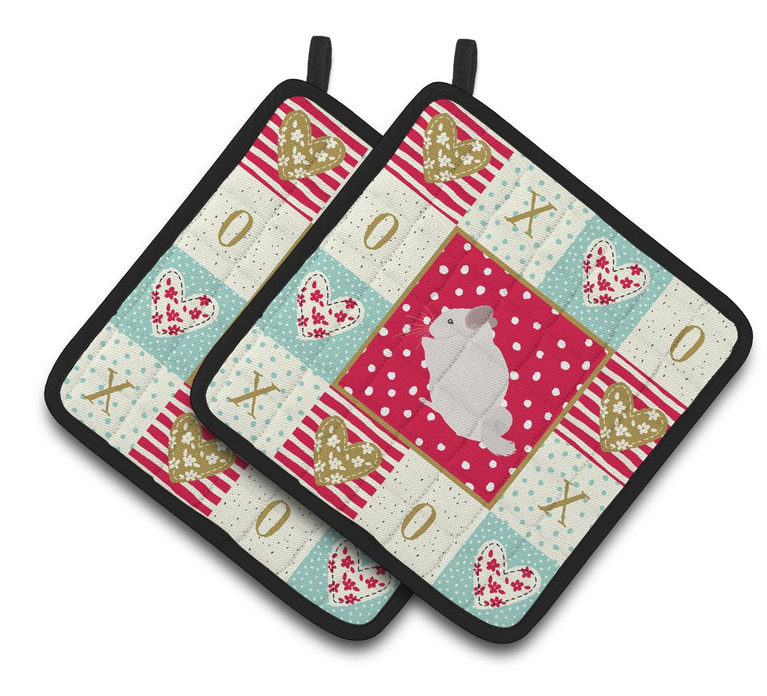 Buy this Pink and White Chinchilla Love Pair of Pot Holders CK5424PTHD