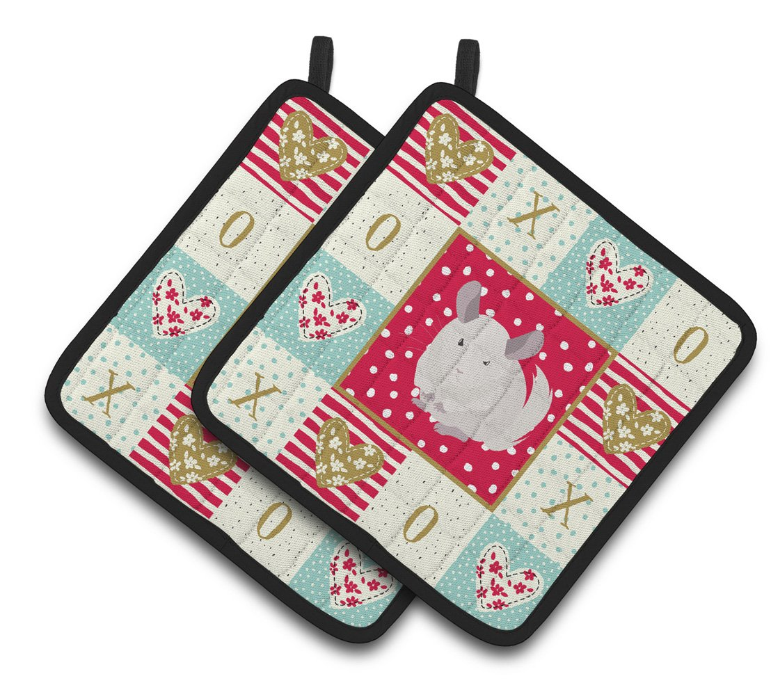Buy this White Dominant Chinchilla Love Pair of Pot Holders CK5425PTHD