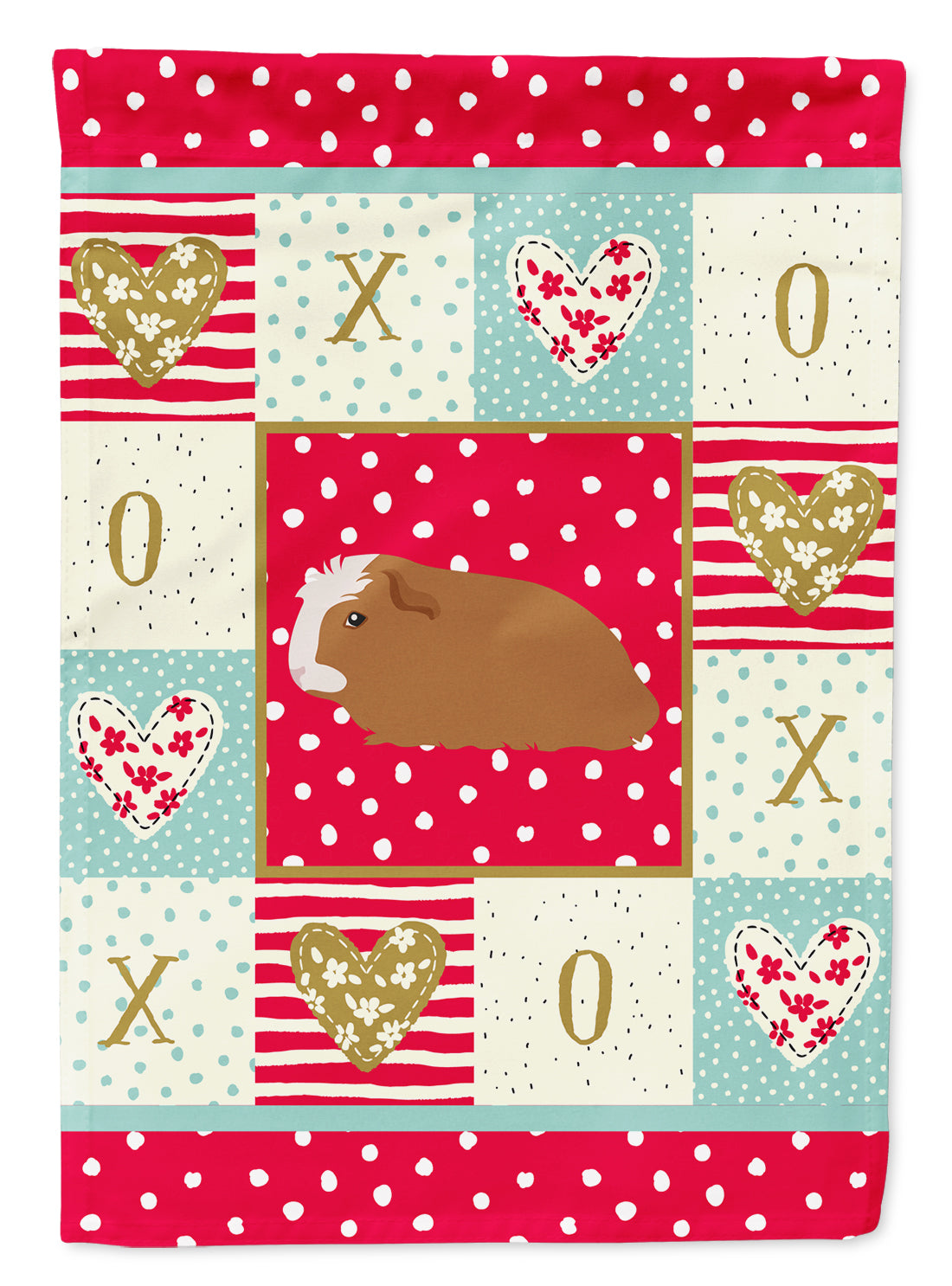 Crested Guinea Pig Love Flag Canvas House Size CK5428CHF by Caroline's Treasures