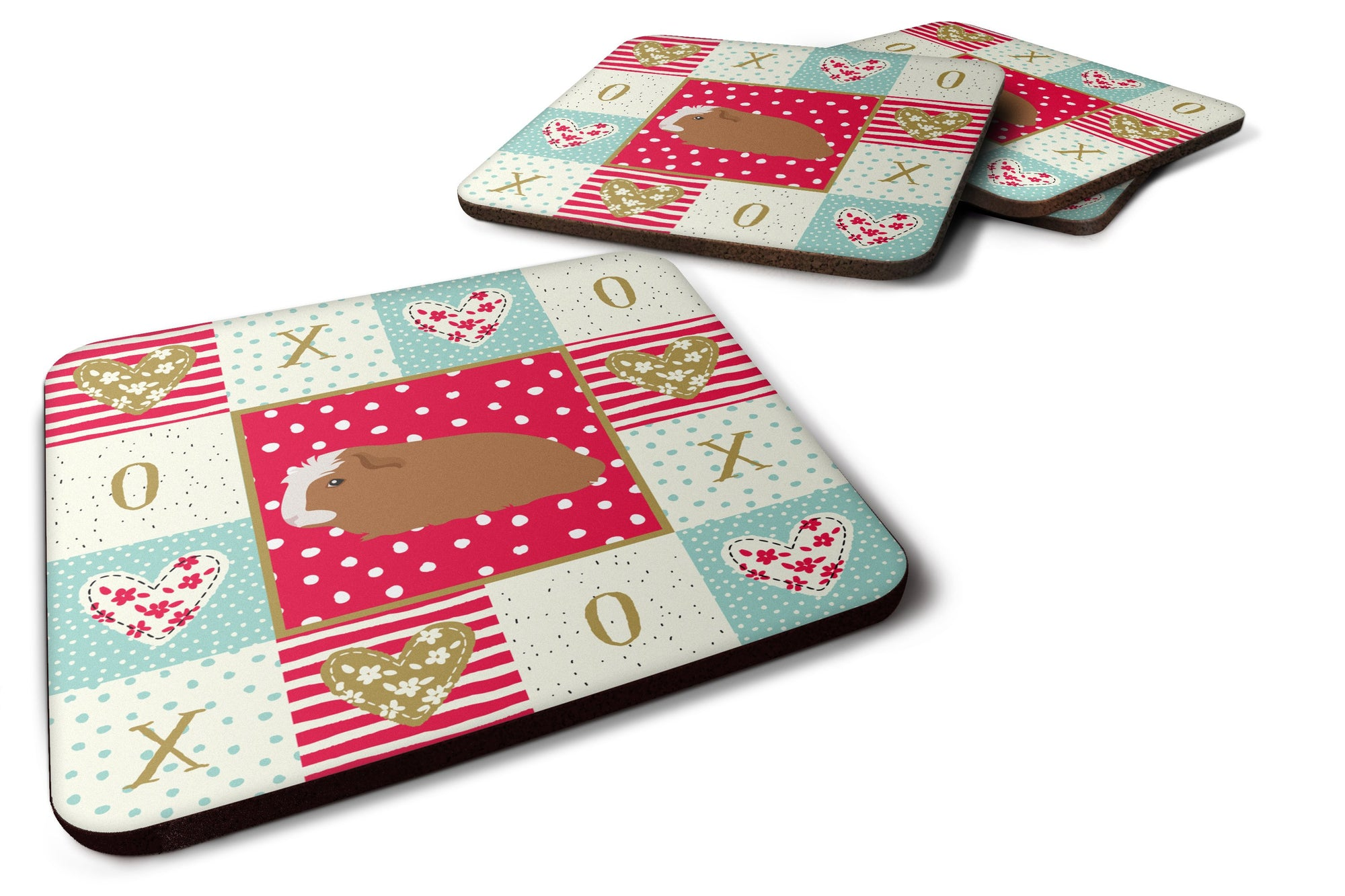 Set of 4 Crested Guinea Pig Love Foam Coasters Set of 4 CK5428FC by Caroline's Treasures
