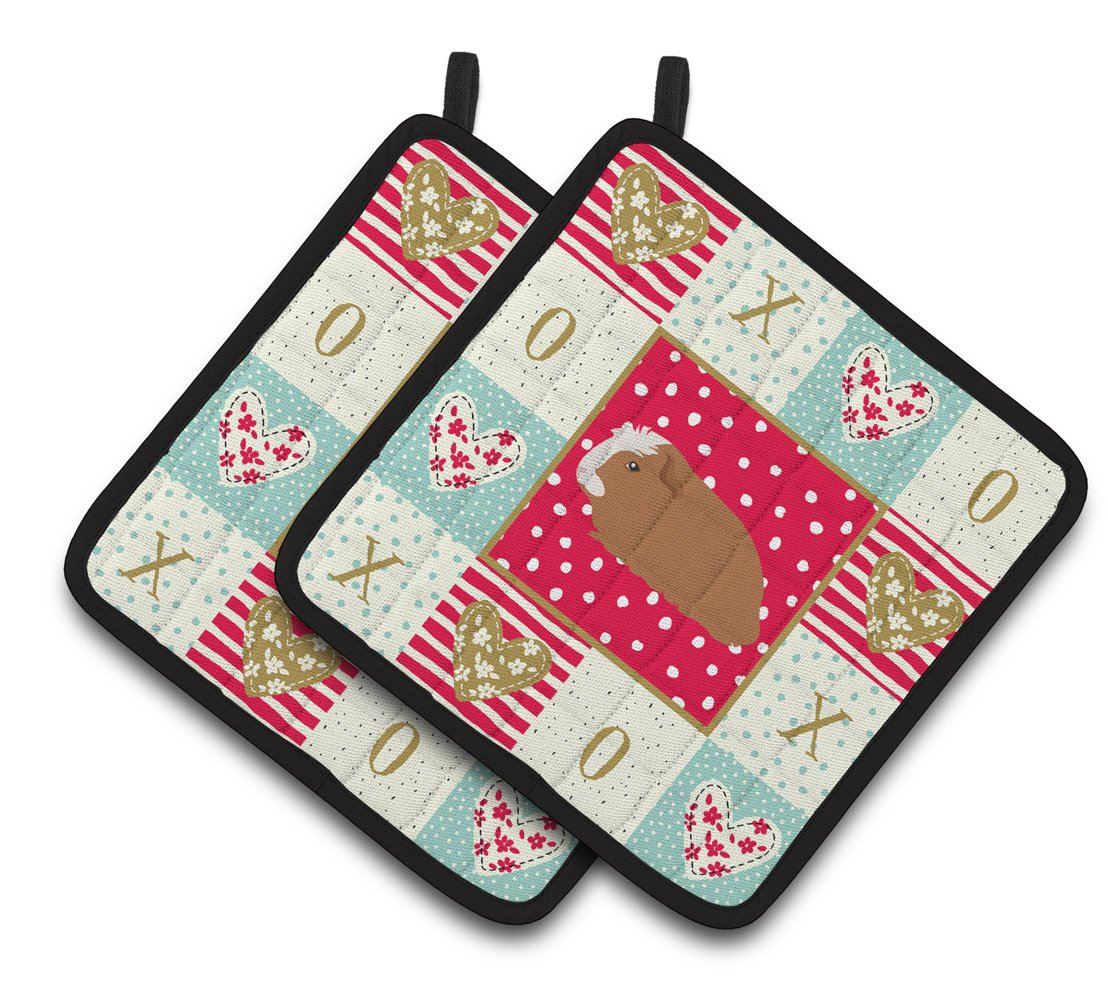 Crested Guinea Pig Love Pair of Pot Holders CK5428PTHD by Caroline's Treasures