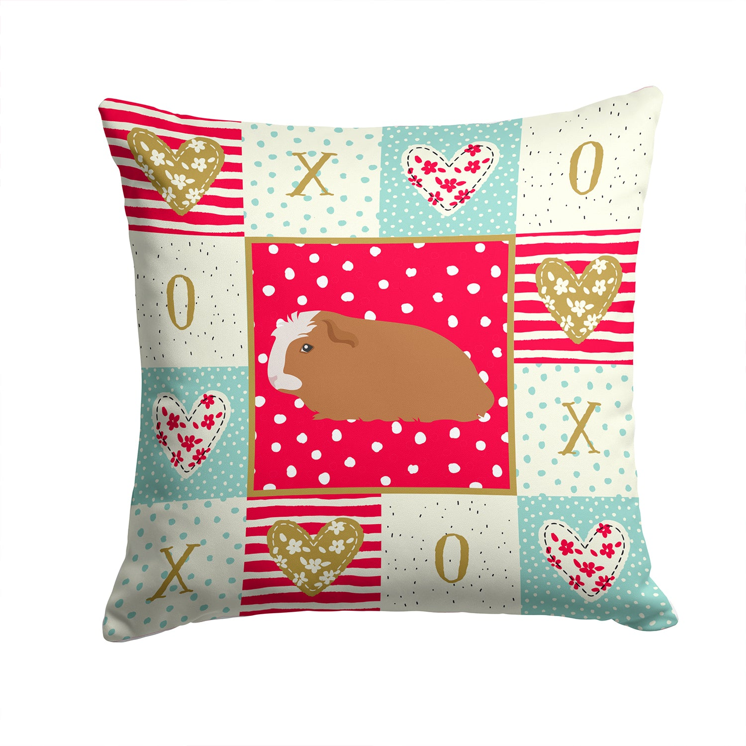 Crested Guinea Pig Love Fabric Decorative Pillow CK5428PW1414 by Caroline's Treasures