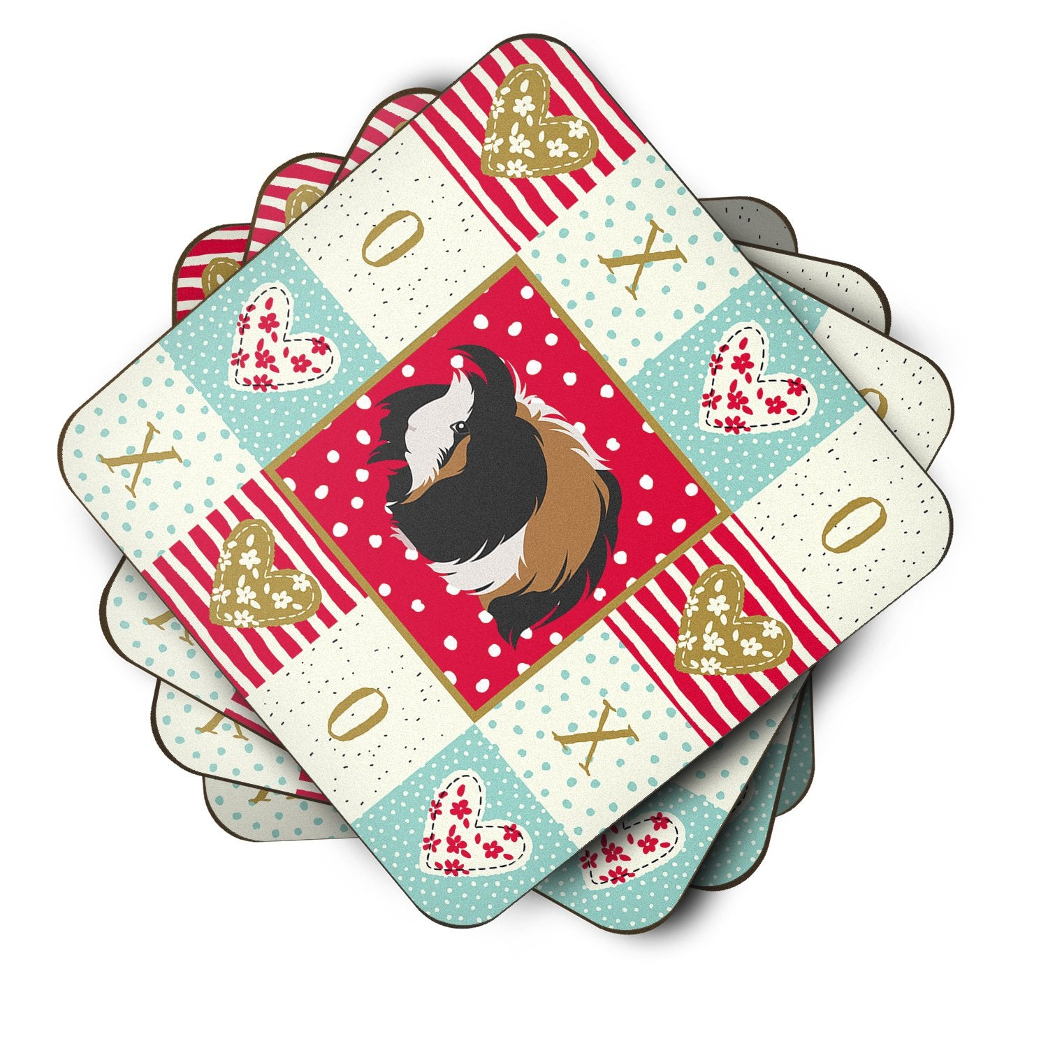Buy this Set of 4 Sheba Guinea Pig Love Foam Coasters Set of 4 CK5433FC
