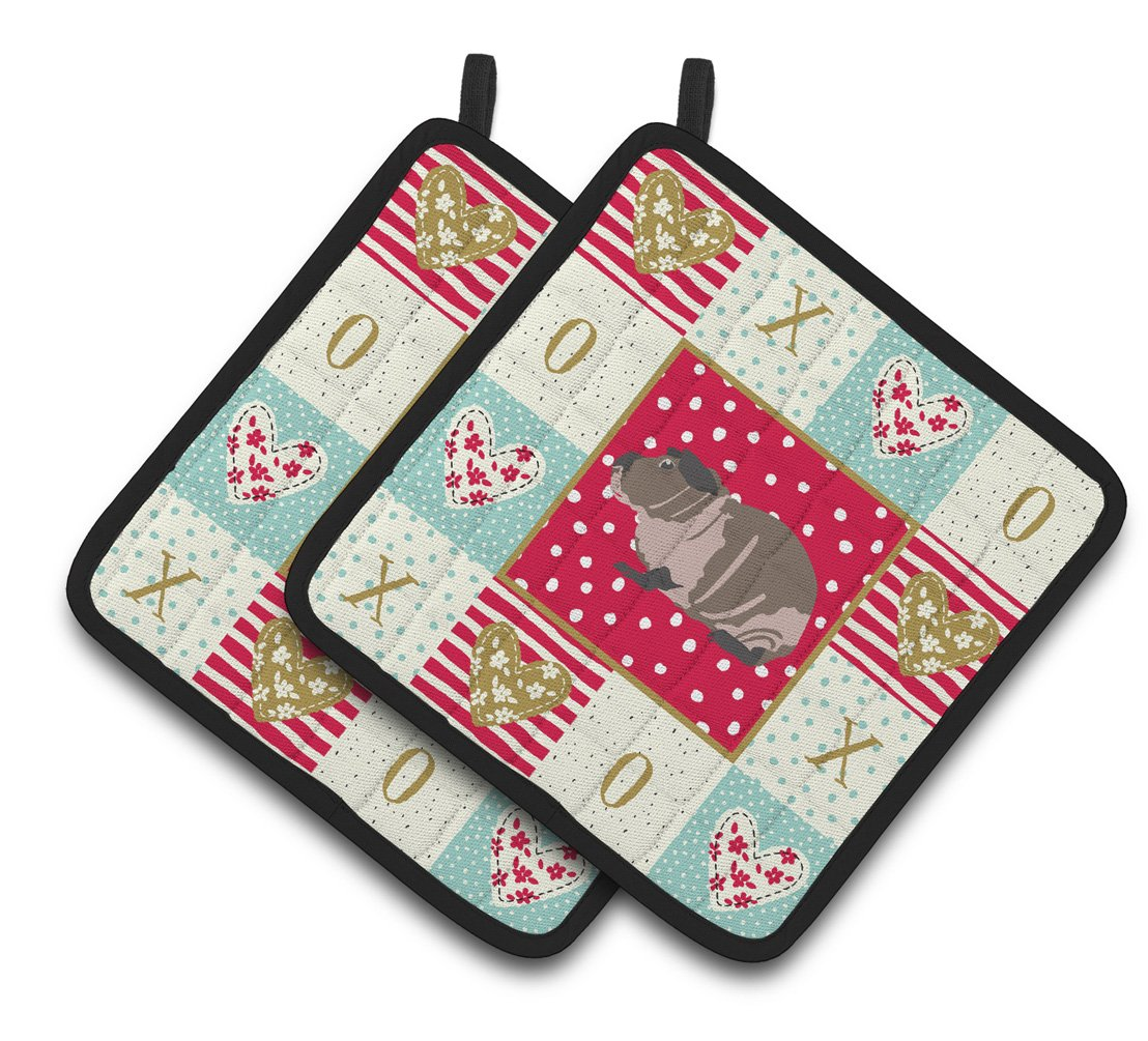 Skinny Guinea Pig Love Pair of Pot Holders CK5435PTHD by Caroline's Treasures