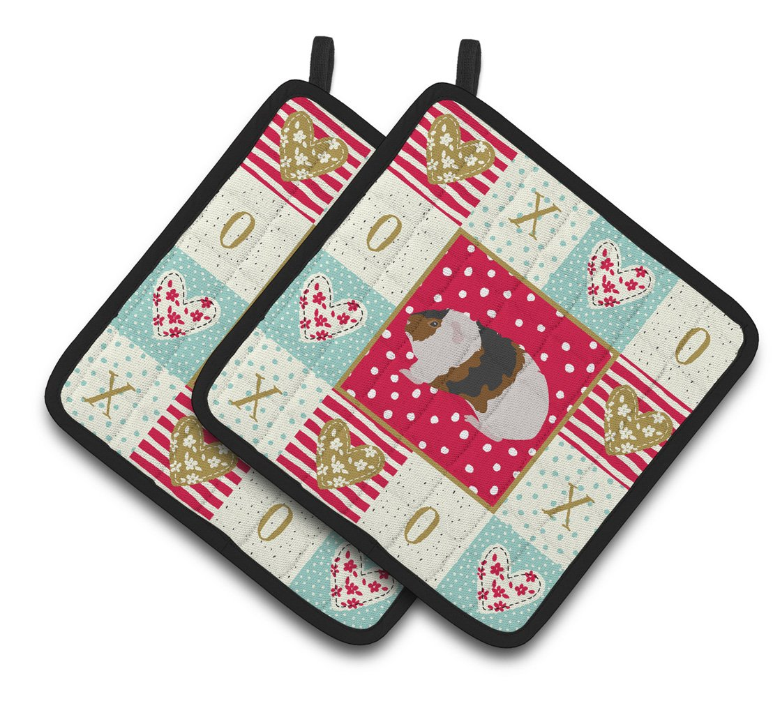 Buy this Teddy Guinea Pig Love Pair of Pot Holders CK5436PTHD