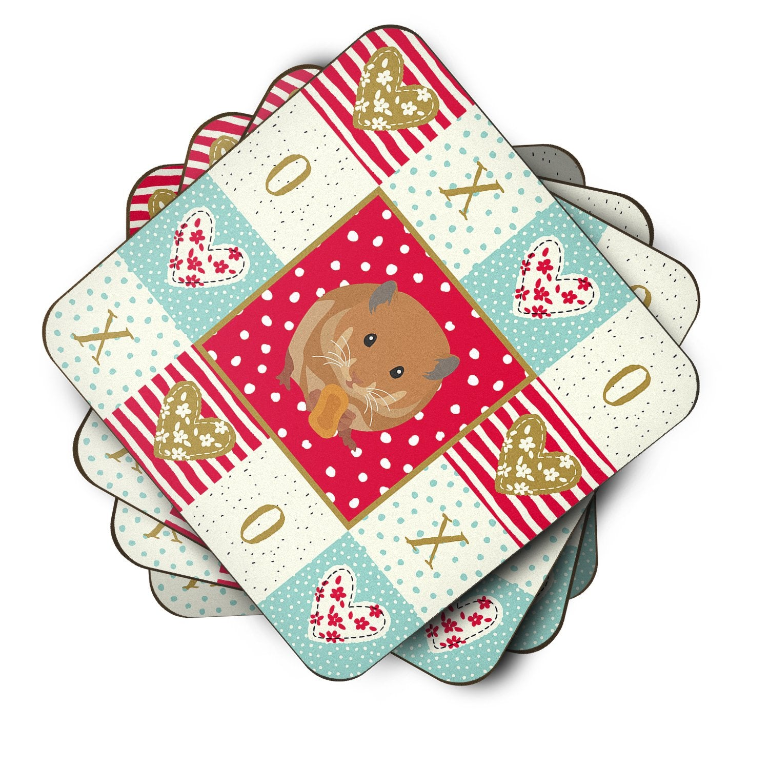 Buy this Set of 4 Teddy Bear Hamster Love Foam Coasters Set of 4 CK5444FC