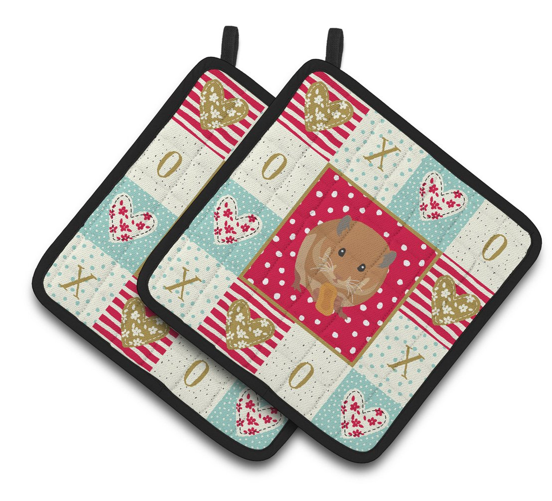Buy this Teddy Bear Hamster Love Pair of Pot Holders CK5444PTHD