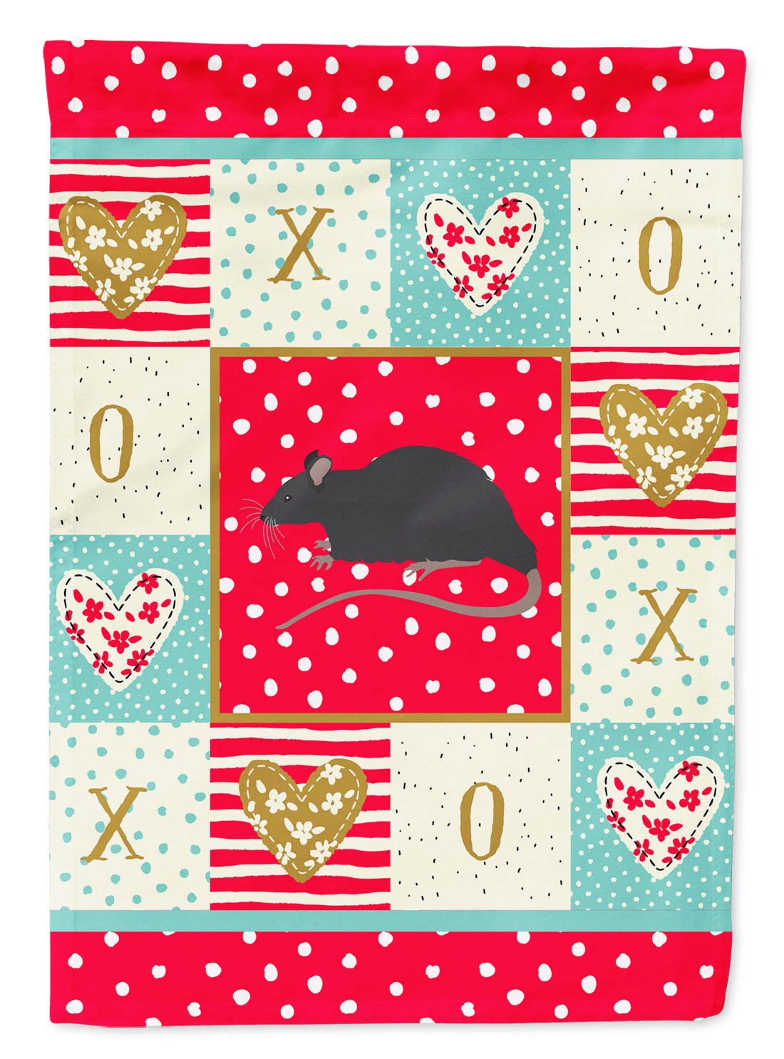Black Rat Love Flag Canvas House Size CK5456CHF by Caroline's Treasures