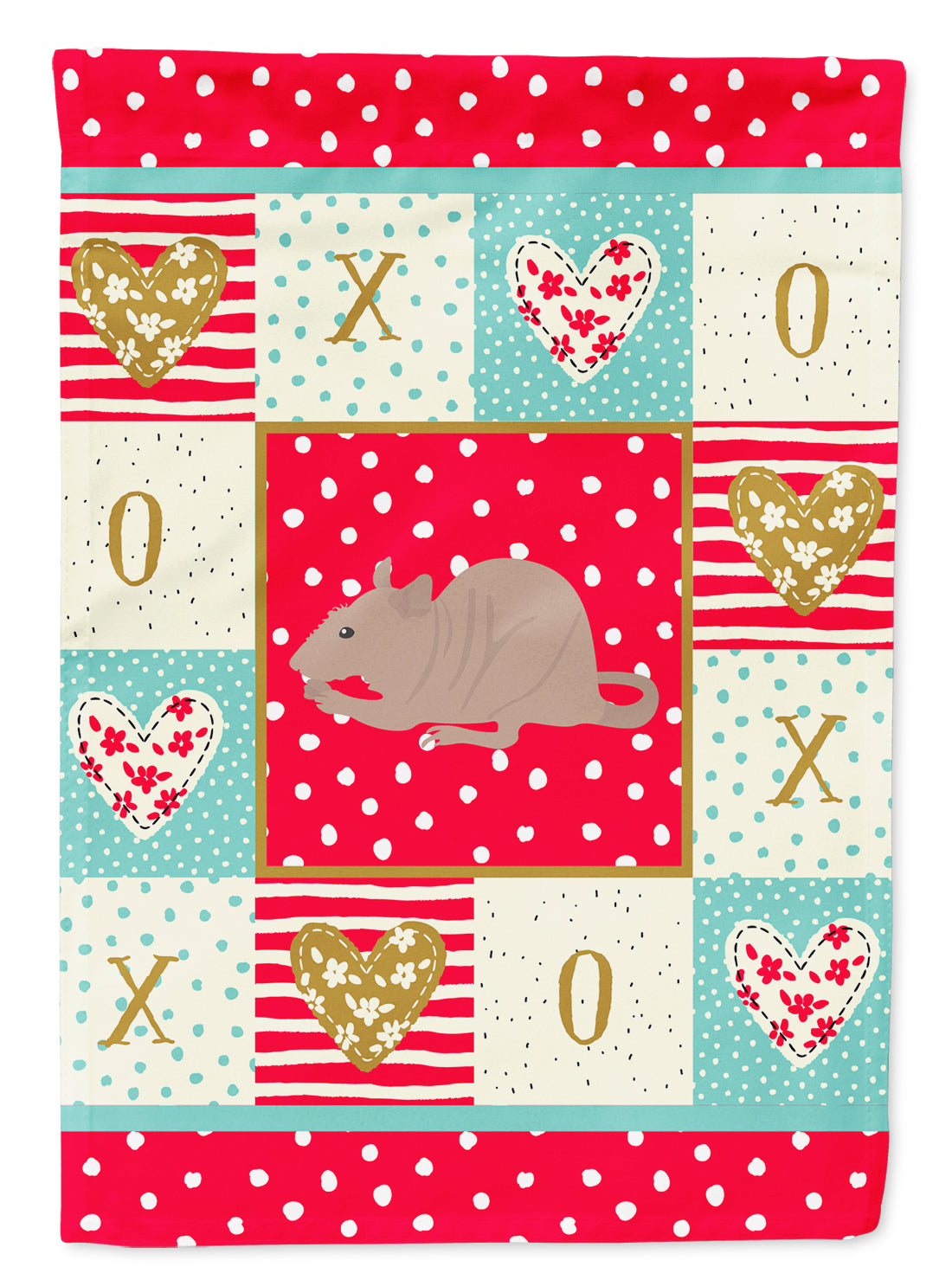 Fuzz Rat Love Flag Canvas House Size CK5460CHF by Caroline's Treasures