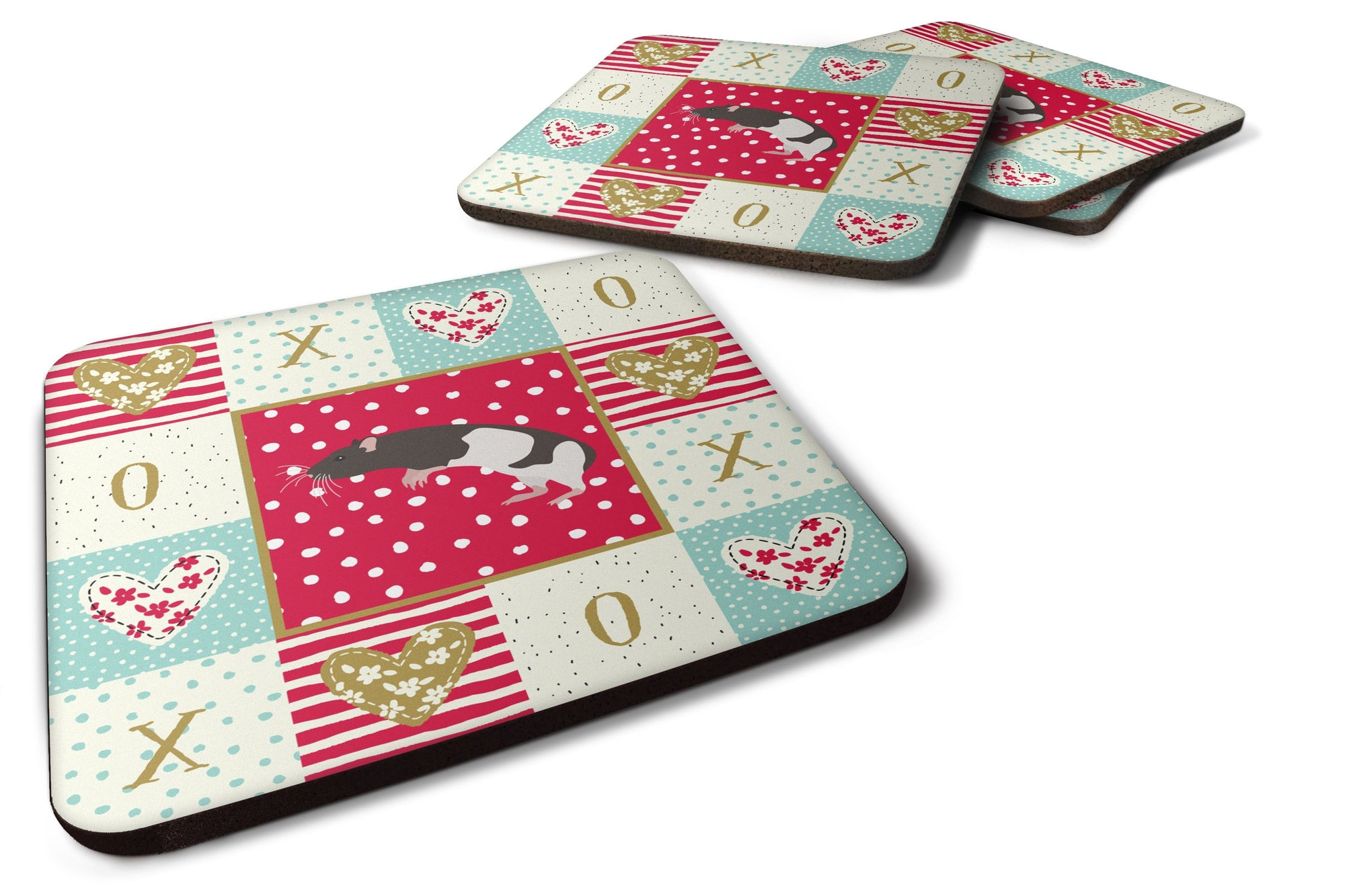 Buy this Set of 4 Tailless Rat Love Foam Coasters Set of 4 CK5464FC