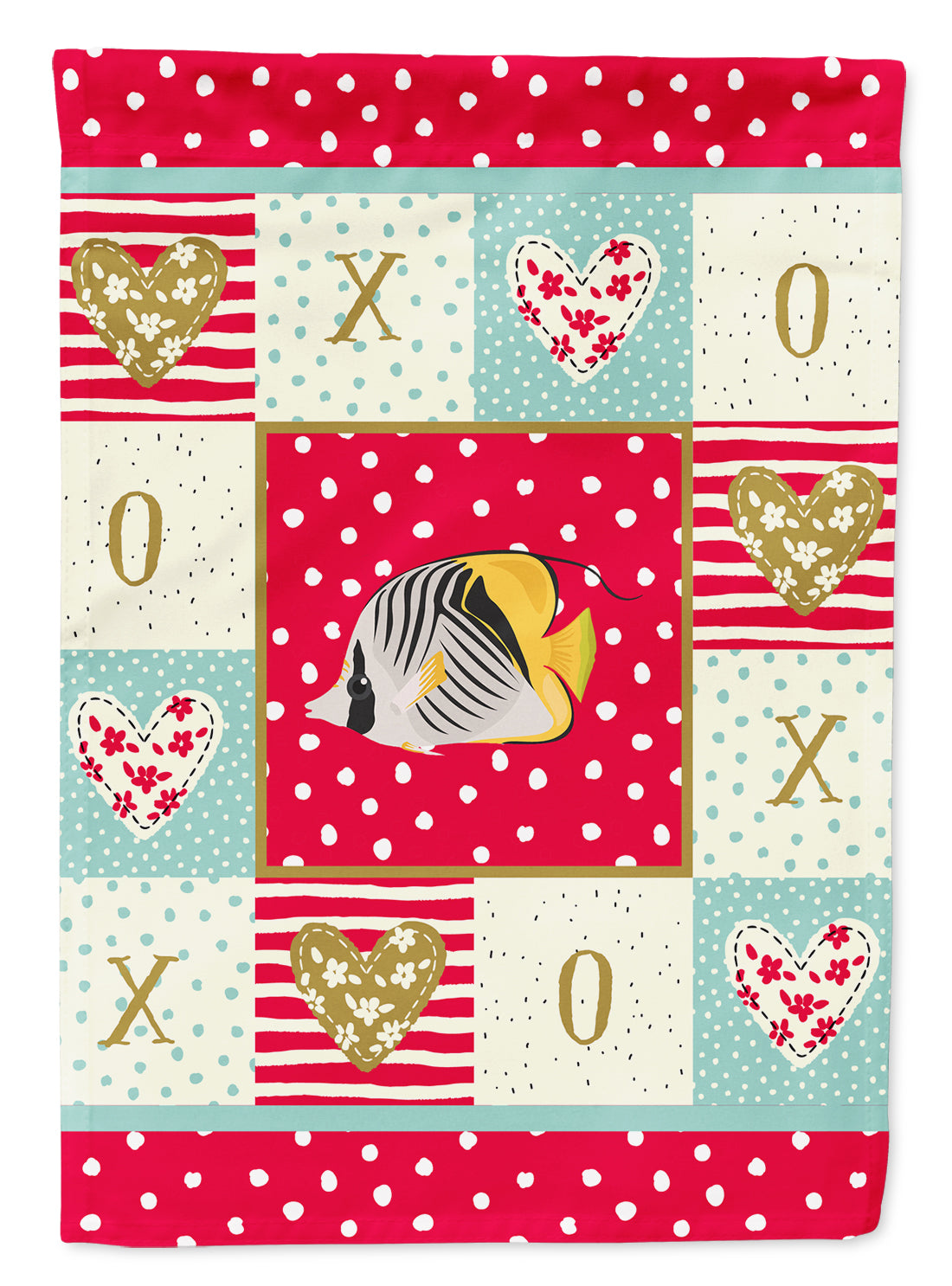 Butterfly Fish Love Flag Canvas House Size CK5466CHF by Caroline's Treasures
