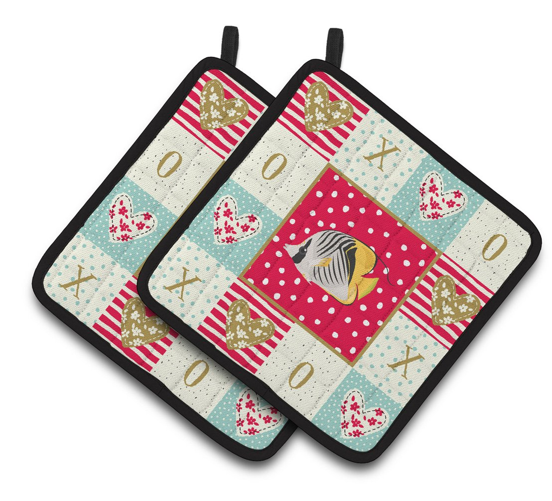 Butterfly Fish Love Pair of Pot Holders CK5466PTHD by Caroline's Treasures
