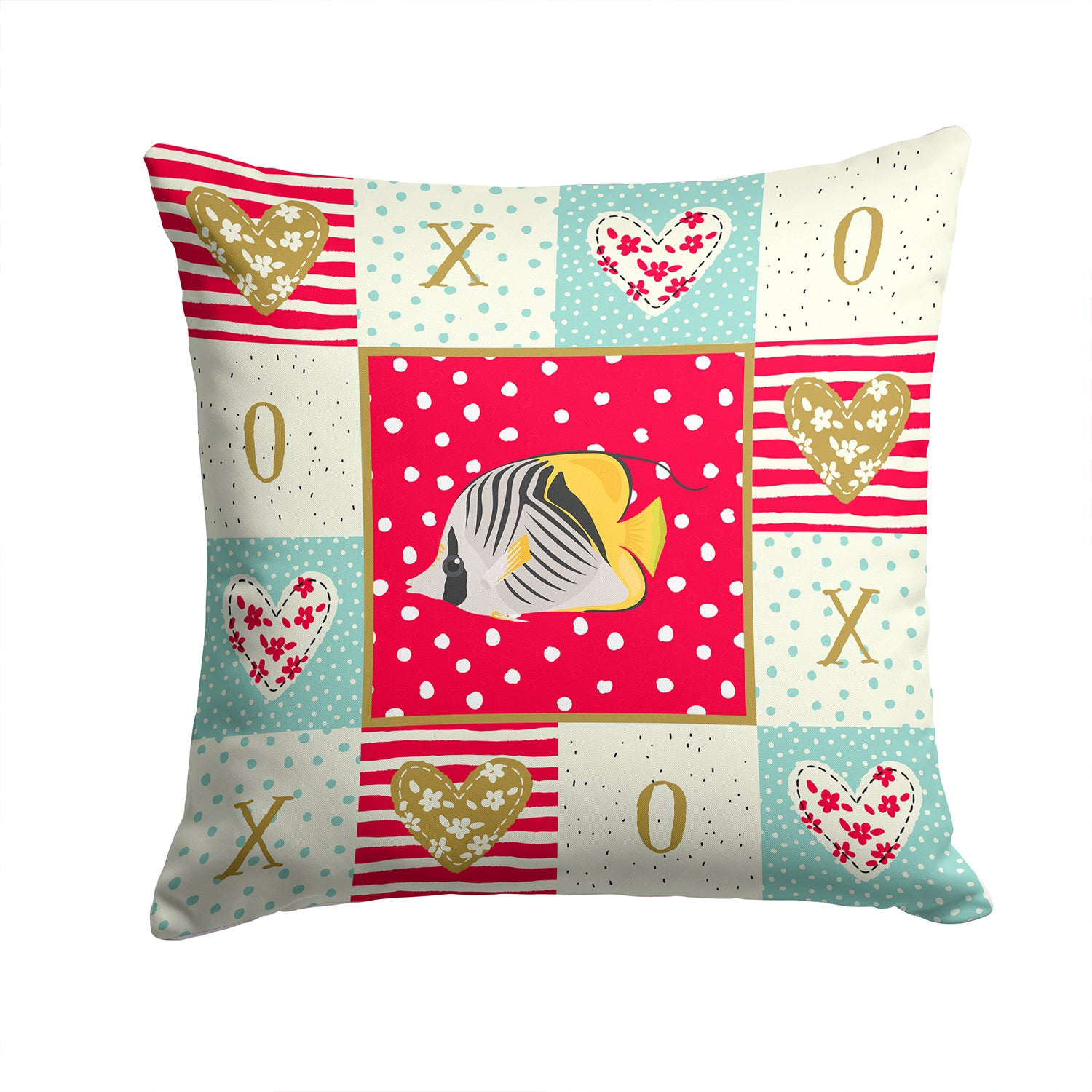 Butterfly Fish Love Fabric Decorative Pillow CK5466PW1414 by Caroline's Treasures