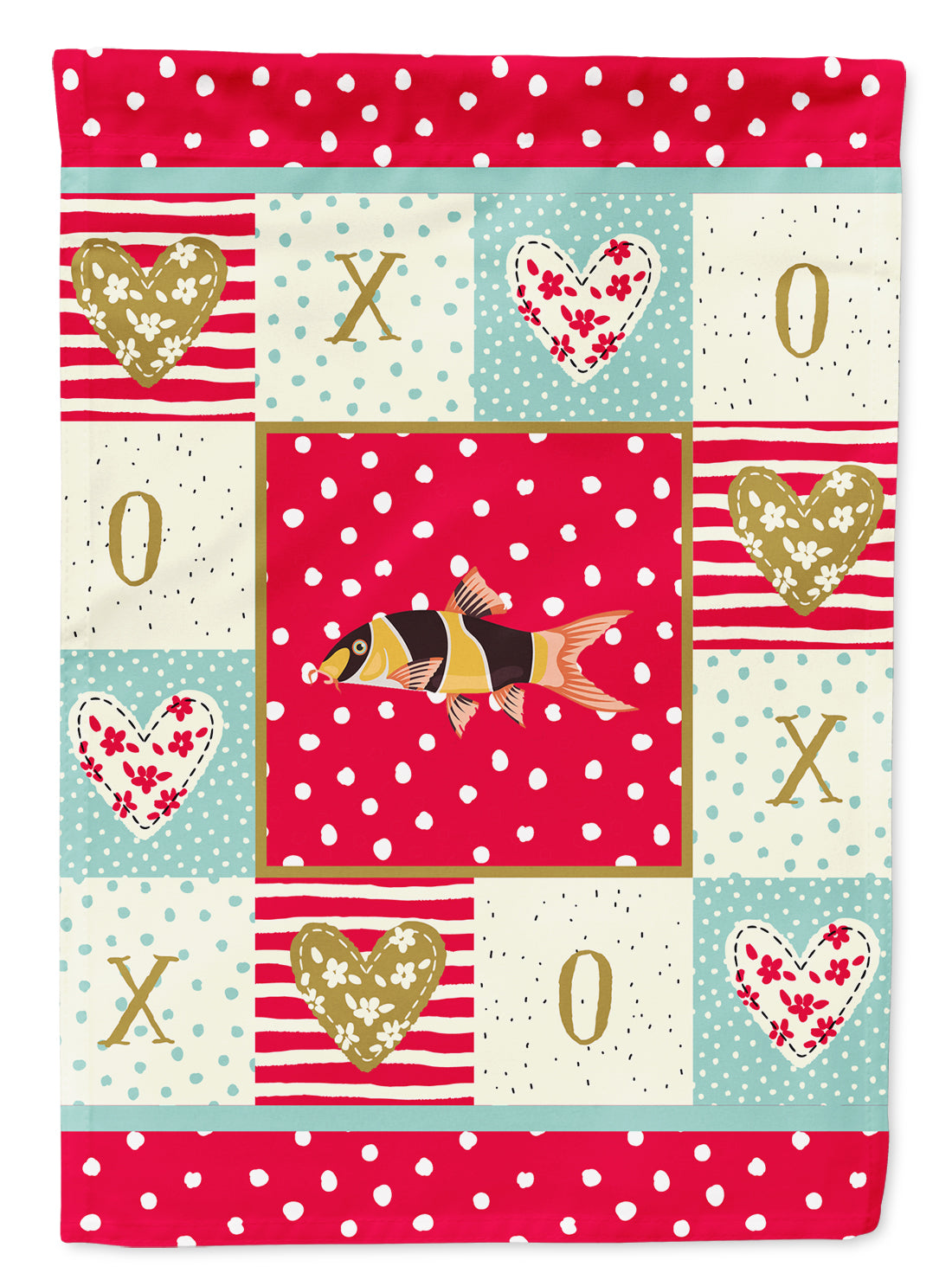 Clown Loach Fish Love Flag Canvas House Size CK5467CHF by Caroline's Treasures