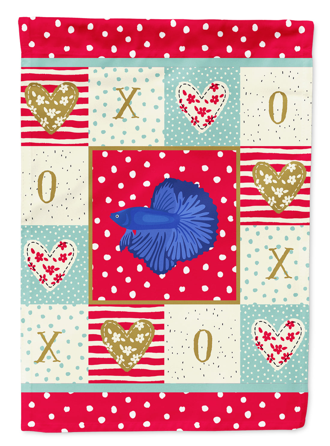 Delta Tail Betta Fish Love Flag Canvas House Size CK5468CHF by Caroline's Treasures