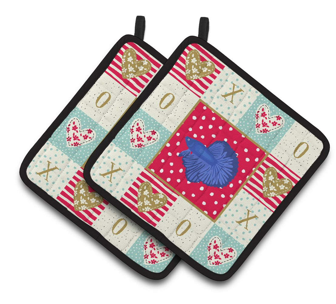 Buy this Delta Tail Betta Fish Love Pair of Pot Holders CK5468PTHD